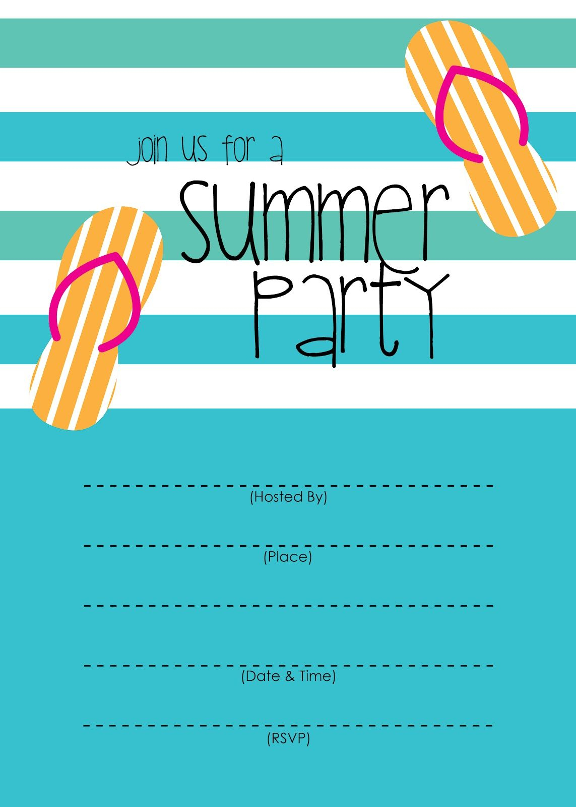 Summer Party Invitation – Free Printable   End Of Year Party Ideas - Free Printable Pool Party Invitation Cards