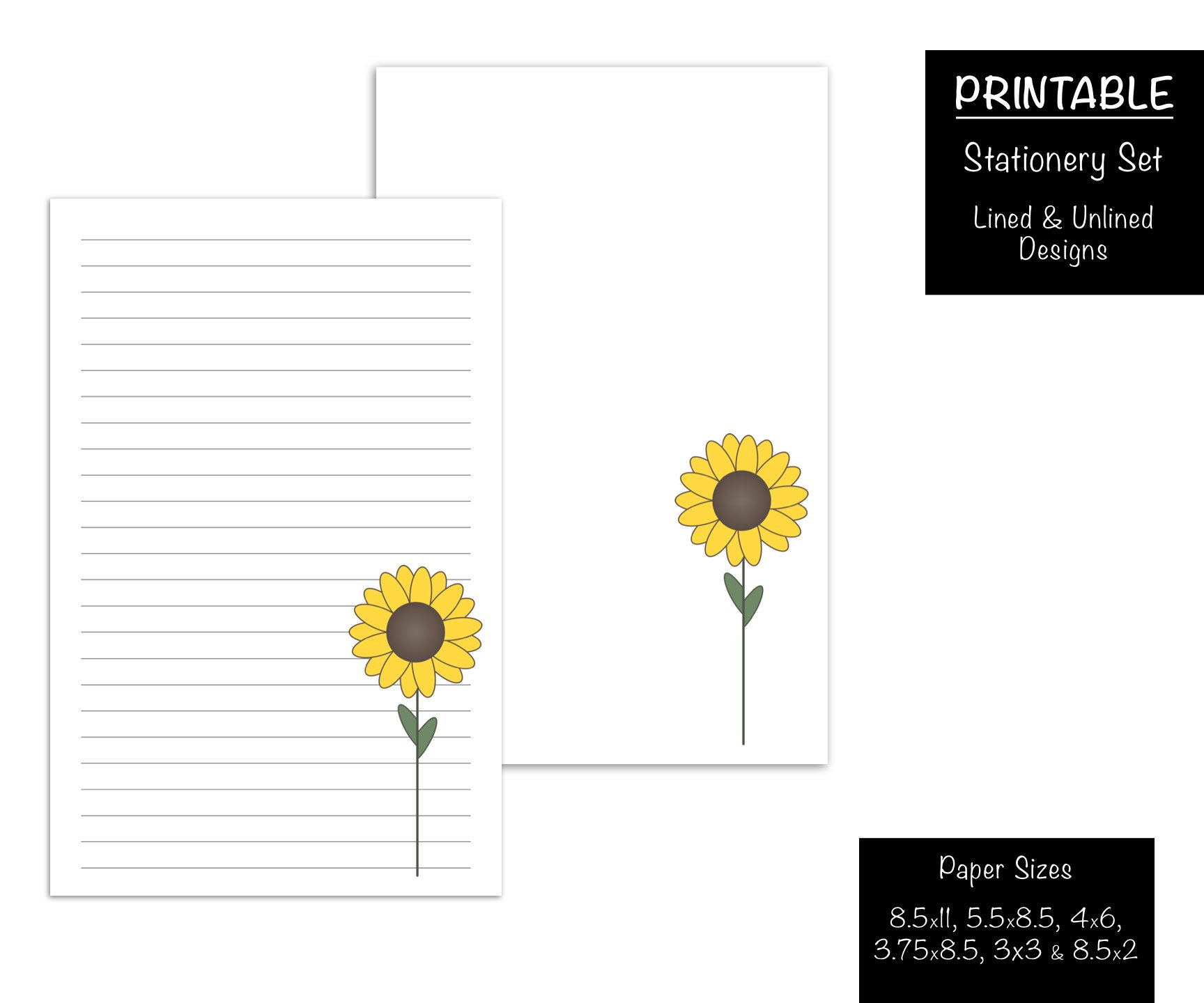 Sunflower Printable Stationery Writing Note Paper Autumn | Etsy - Free Printable Sunflower Stationery