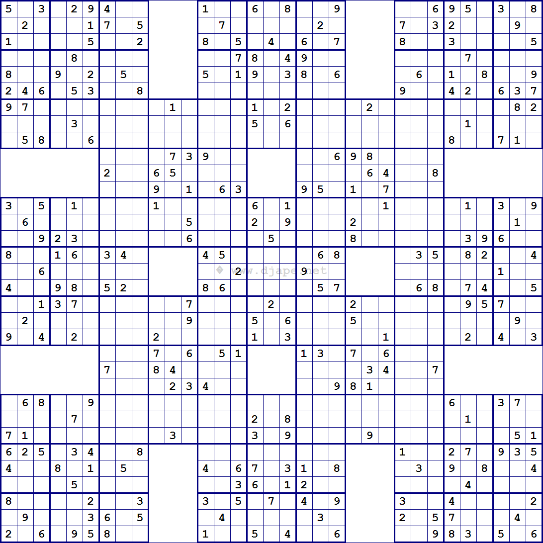 Super Samurai Sudoku 13 Grids | Sudoku | Pinterest | Sudoku Puzzles - Free Printable Samurai Sudoku