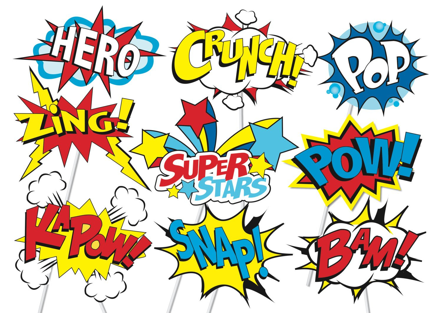 Superhero Action Party Photo Booth Props Or Superhero Cake Toppers - Free Printable Superhero Photo Booth Props
