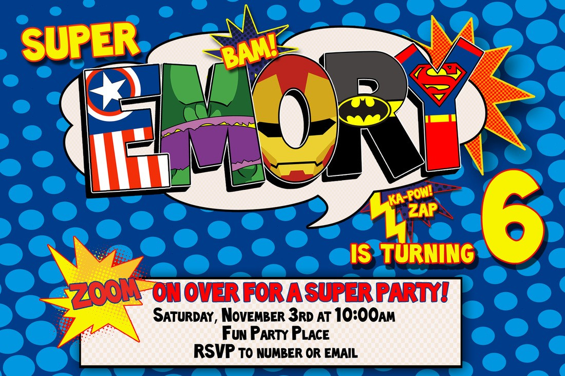 Superhero Comic Book Party Invitation With Free Printable 1 In - Free Printable Superman Invitations