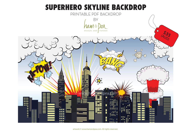 Superhero Skyline Explosion Backdrop (Pdf File) In 2019 | Caden's - Free Printable Superhero Skyline
