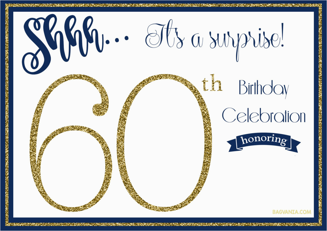 Surprise 60Th Birthday Party Invitations Template | Birthdaybuzz - Free Printable Surprise 60Th Birthday Invitations