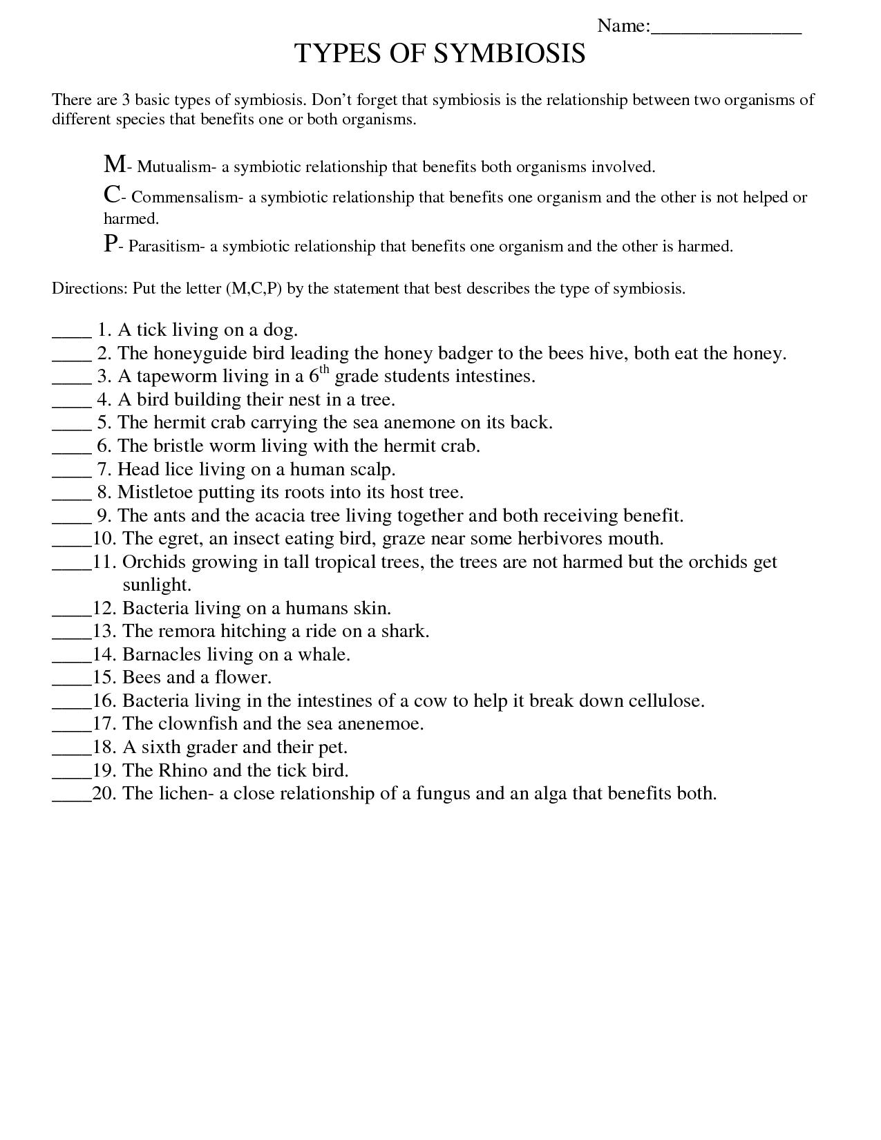 Symbiosis Worksheet: Free Printable Worksheets On High School Bio - Free Printable Worksheets For Highschool Students
