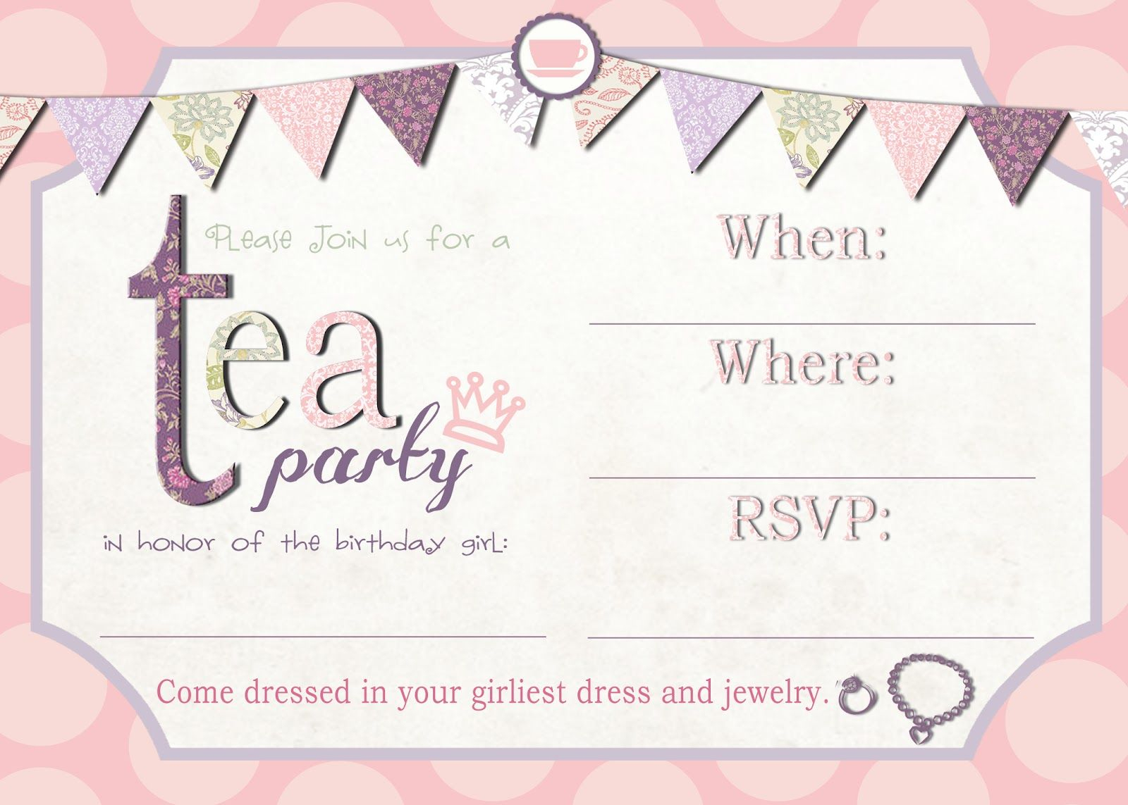 Tea Party Invitation Template Download – Invitetown | Girls' Tea - Free Printable Kitchen Tea Invitation Templates