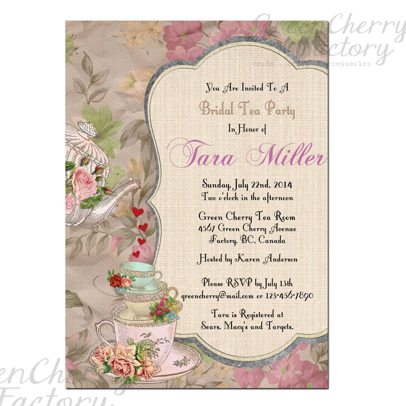 Tea Party Invitation Template | High Tea Party Invitations Free - Free Printable Kitchen Tea Invitation Templates