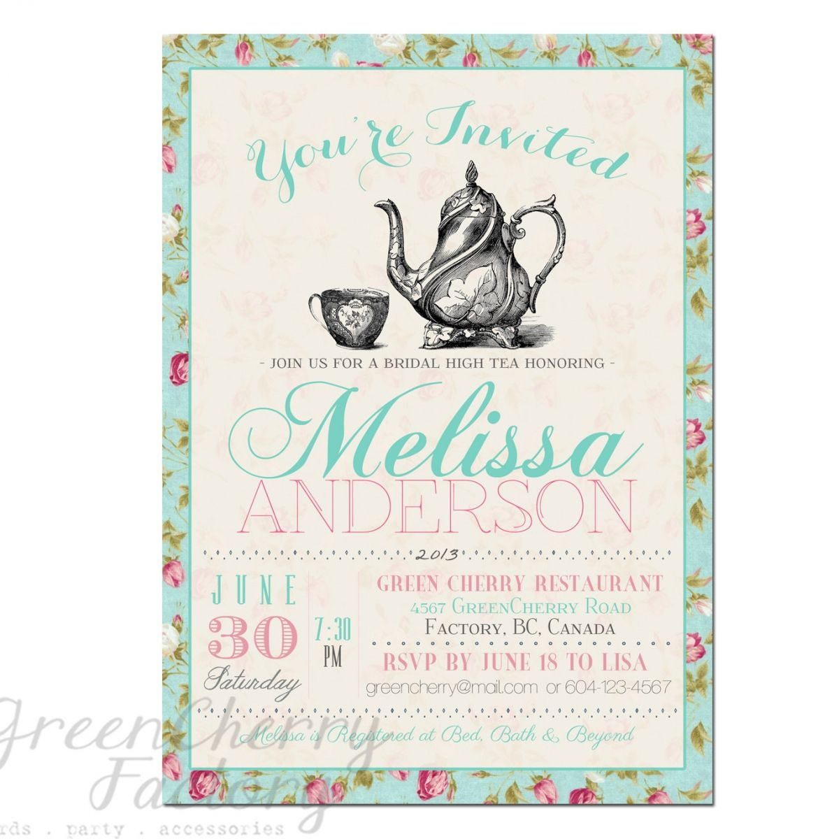 Tea Party Invitation Templates To Print | Free Printable Tea Party - Free Stork Party Invitations Printable