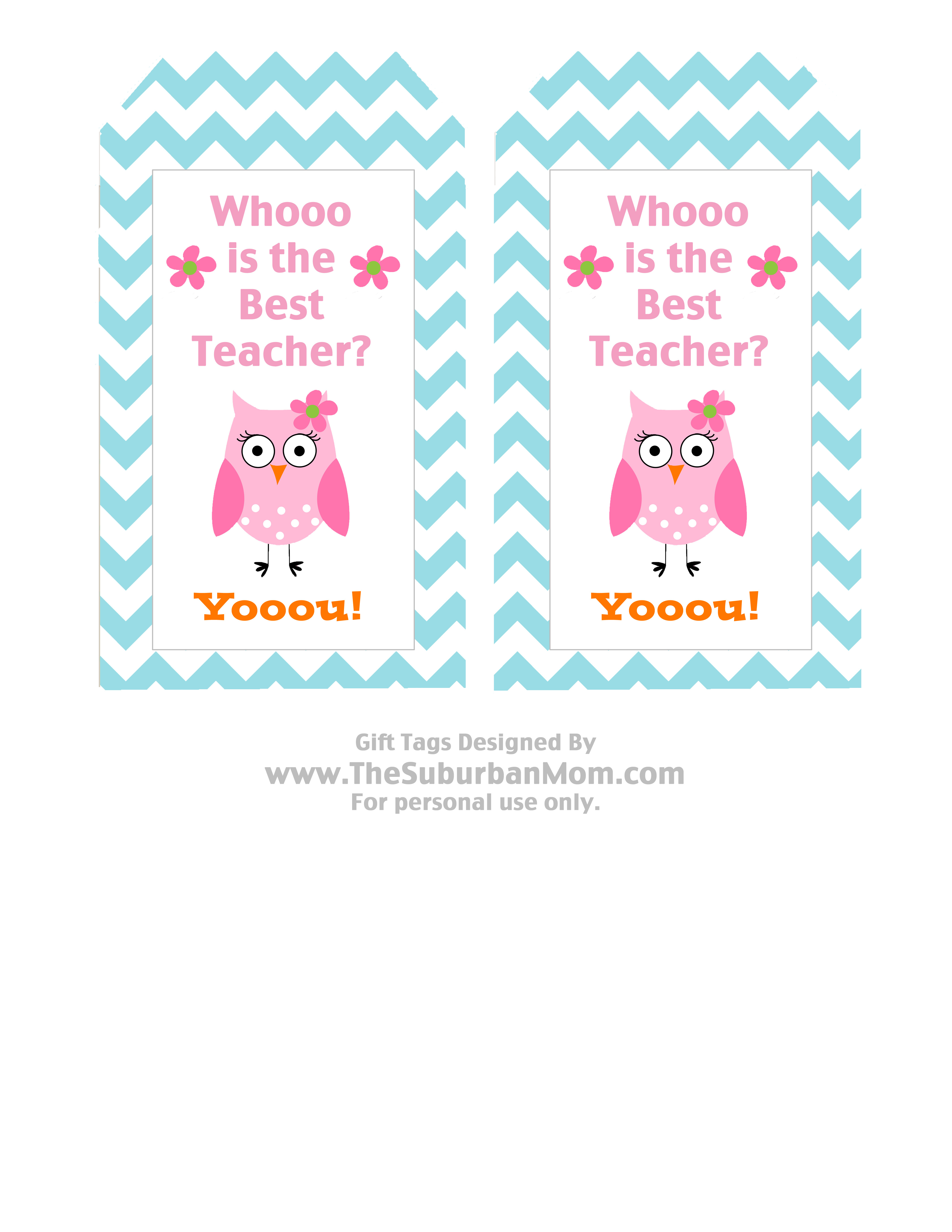 Teacher Appreciation Basket & Free Owl Printable Tag - Thesuburbanmom - Free Printable Tags For Teacher Appreciation