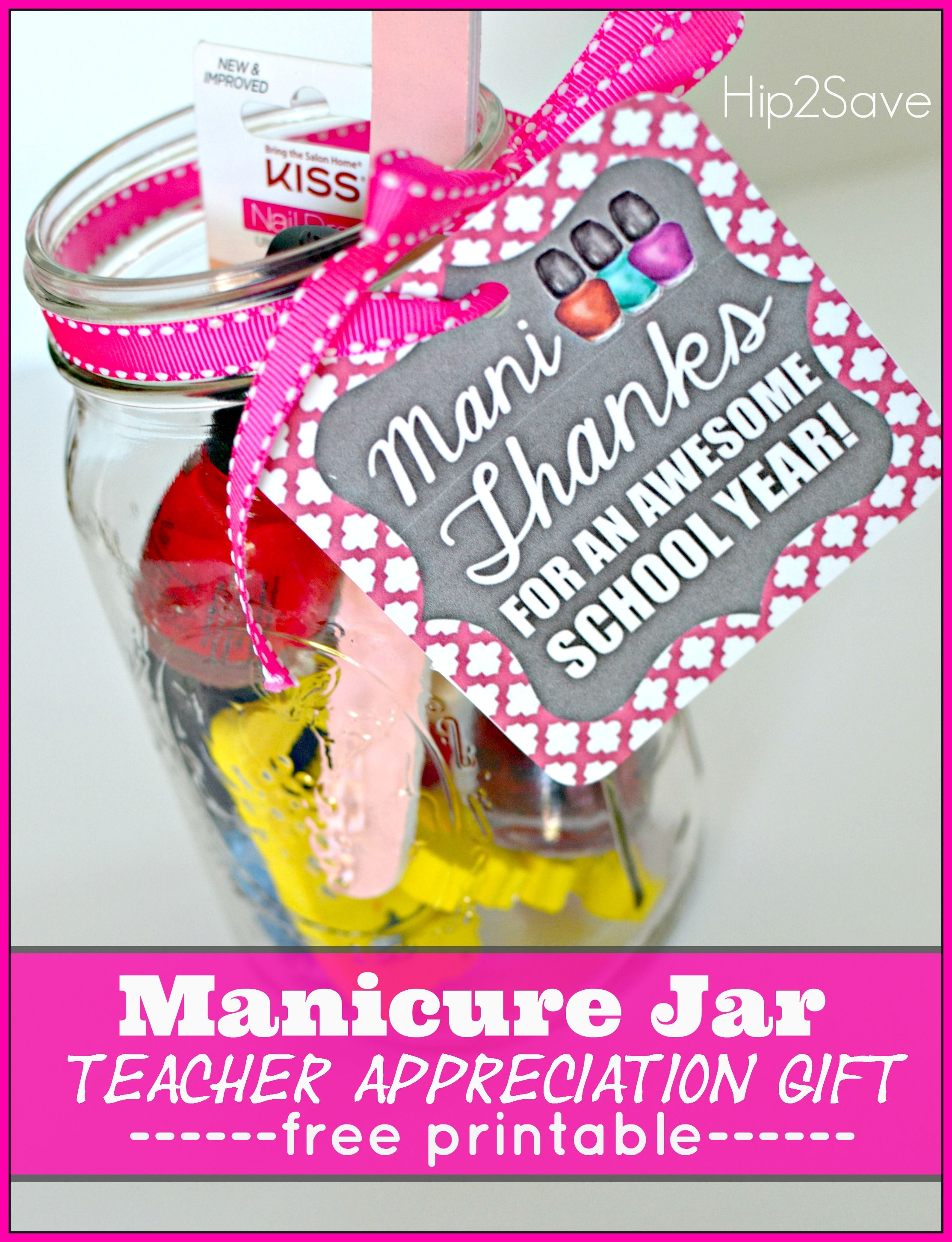 "Teacher Appreciation Gift Idea: ""mani Thanks"" Manicure Jar With Free - Printable Thangles Free"