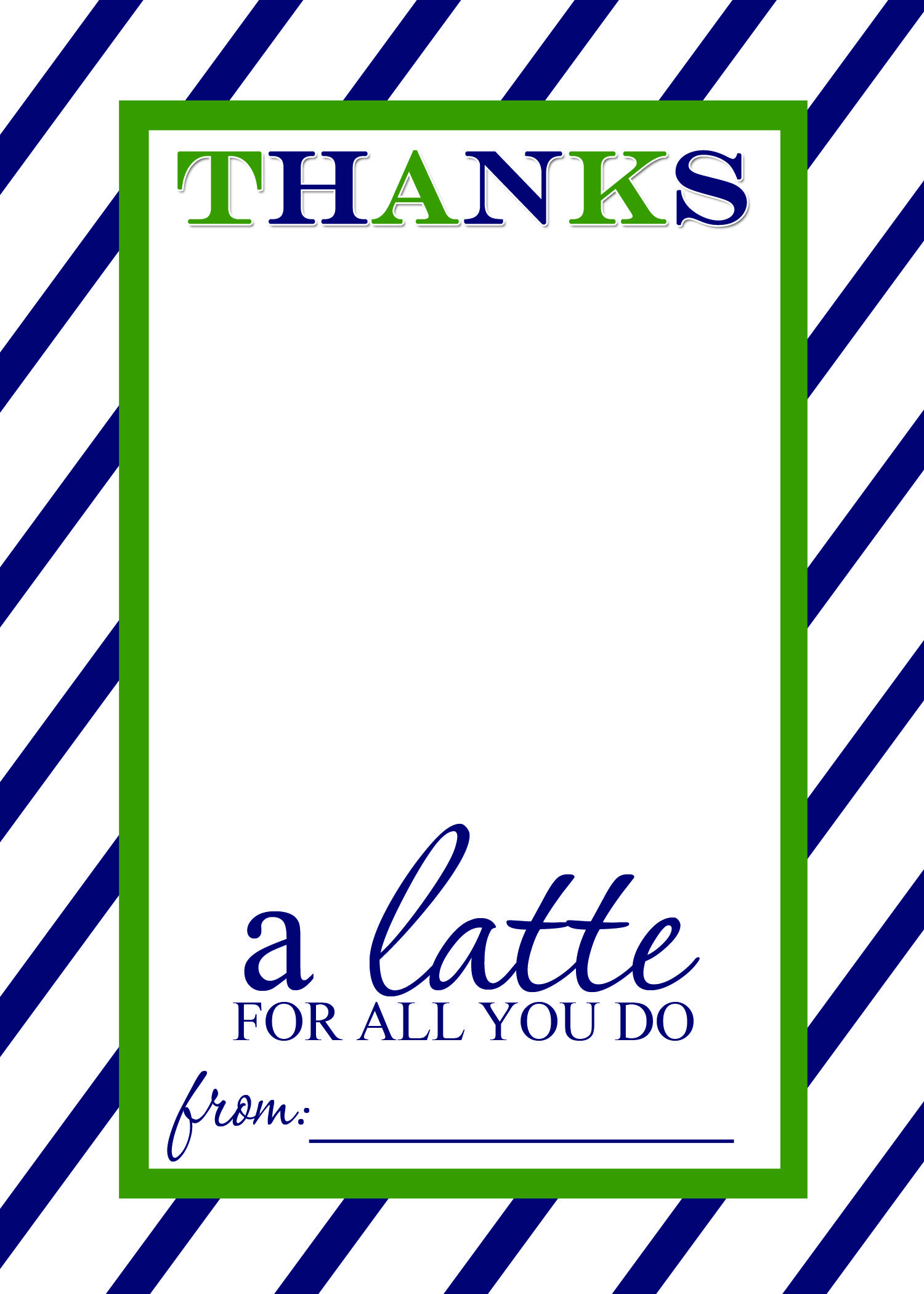 Teacher Appreciation Gift Idea - Thanks A Latte Free Printable Card - Thanks A Latte Free Printable Tag
