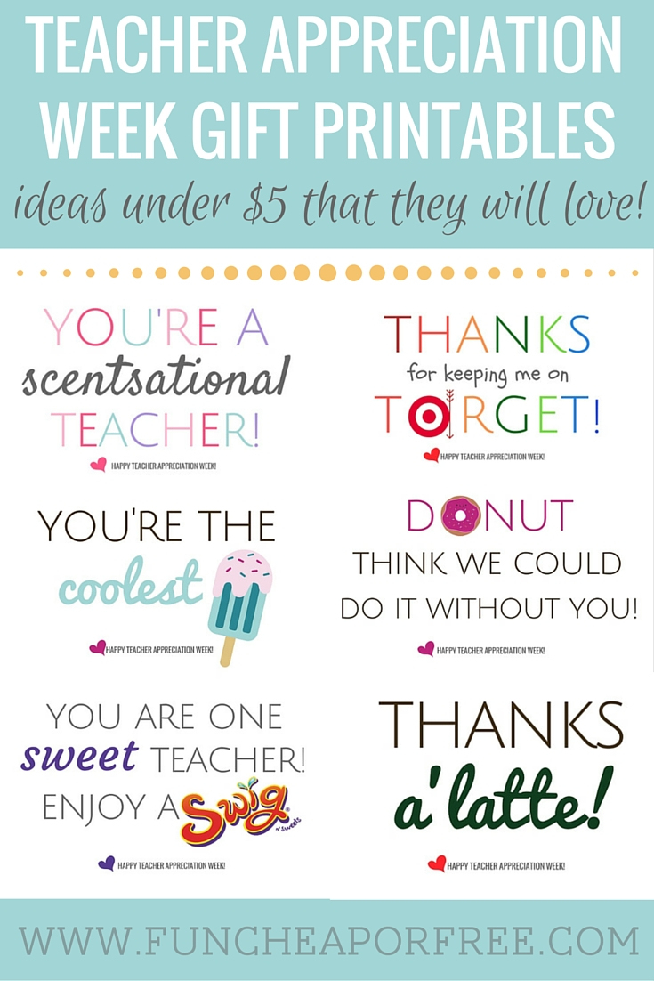 Teacher Appreciation Printables - Gifts Under $5! - Fun Cheap Or Free - Free Teacher Appreciation Week Printable Cards