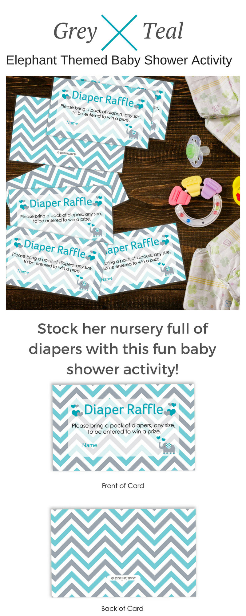 Teal Blue And Gray Elephant Diaper Raffle Tickets - 25 Count - Free Printable Diaper Raffle Tickets For Boy Baby Shower