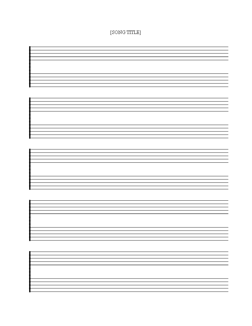 Télécharger Free Printable Music Staff Sheet 5 Double Lines - Free Printable Blank Sheet Music