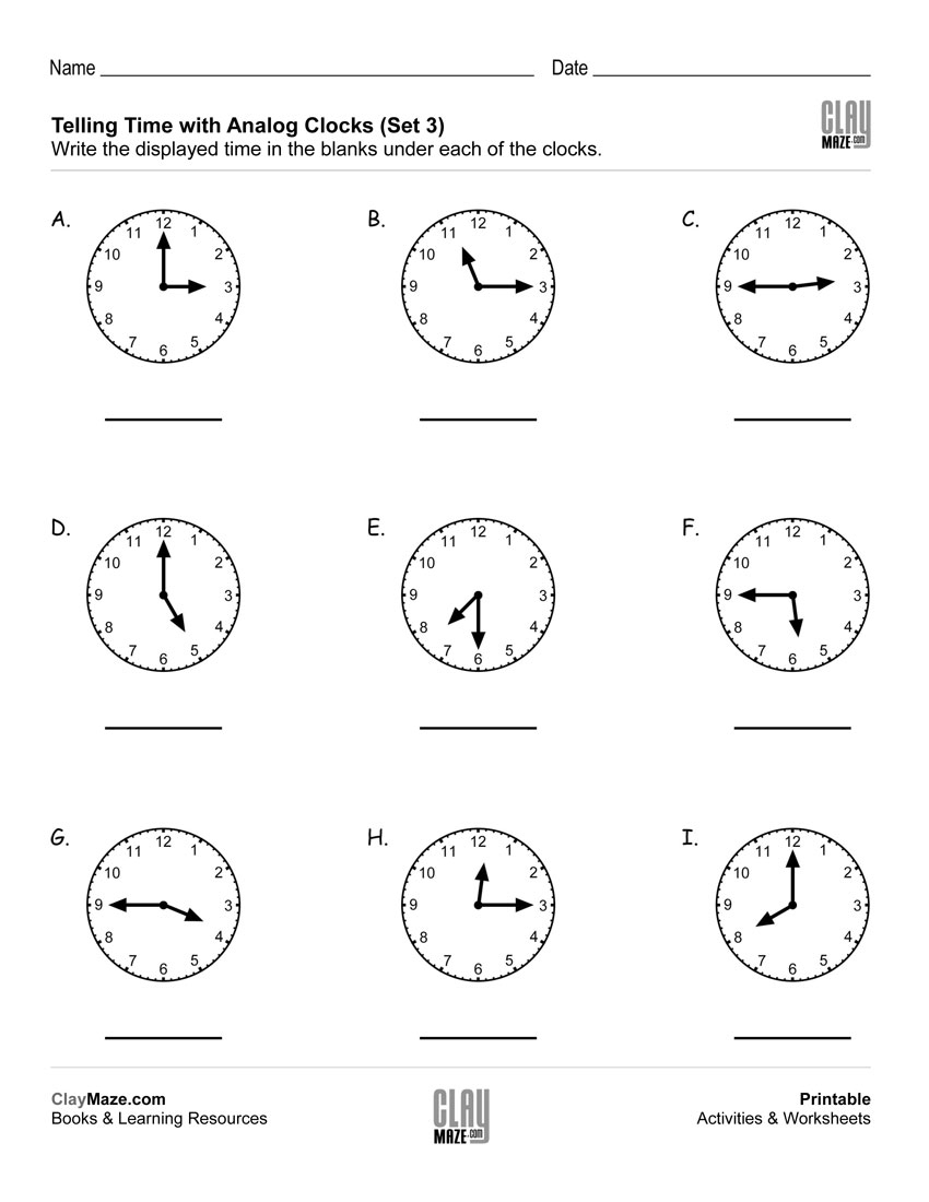 Telling Time – Read The Analog Clocks (Set 3) | Free Printable - Free Printable Telling Time Worksheets For 1St Grade