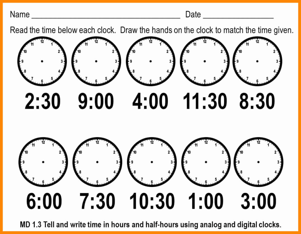 Telling Time Worksheets Printable – Worksheet Template - Free Printable Telling Time Worksheets For 1St Grade