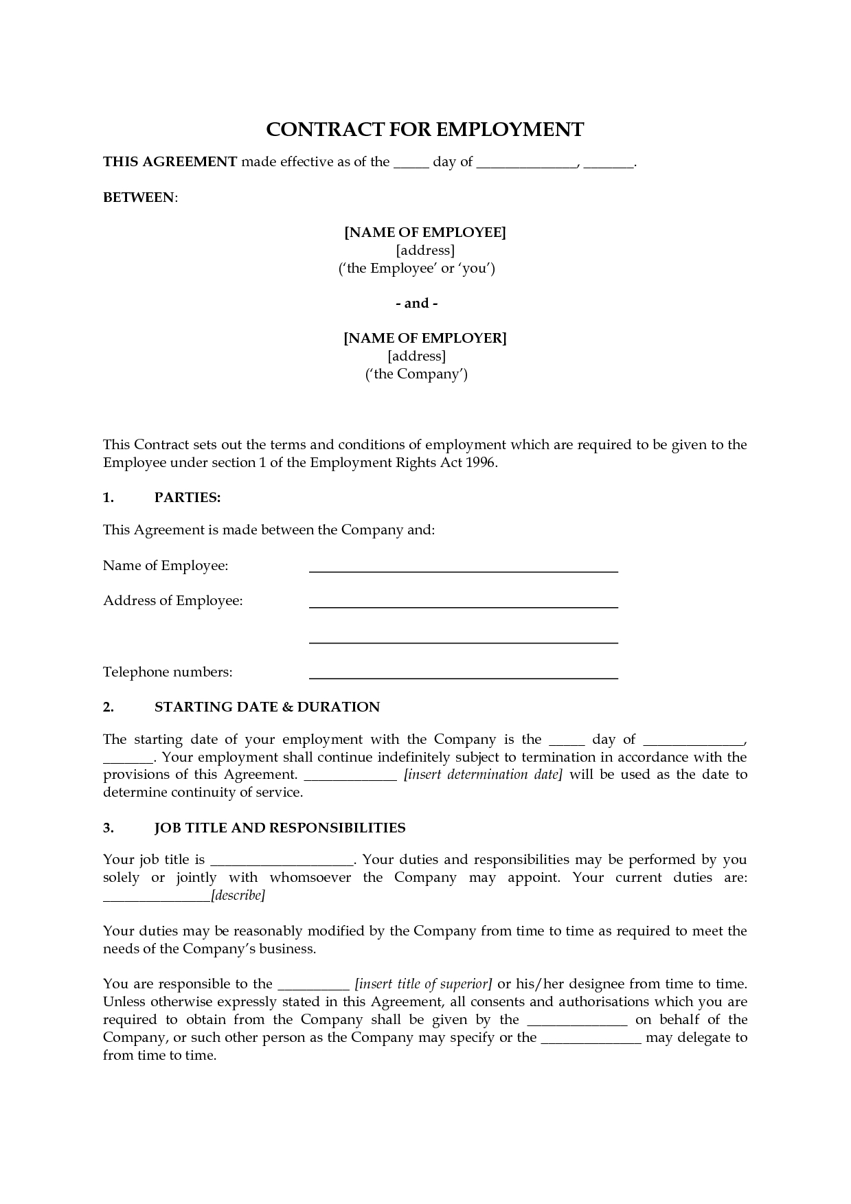 Template: Printable Employment Contract Template. Employment - Free Printable Employment Contracts