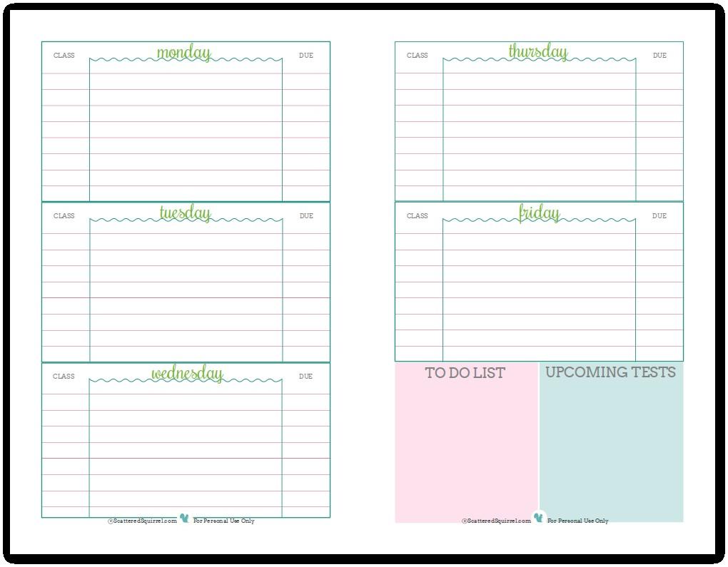 Template Student Planner Free Printable - Epp-Acp - Student Planner Template Free Printable