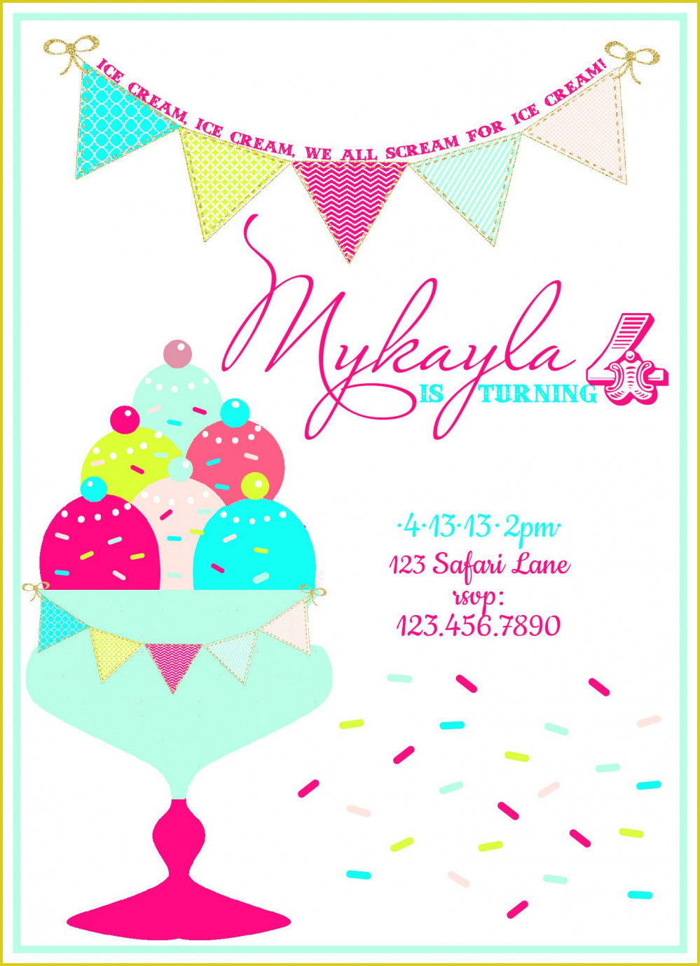 Terrific Ice Cream Birthday Invitations For Additional Free - Ice Cream Party Invitations Printable Free