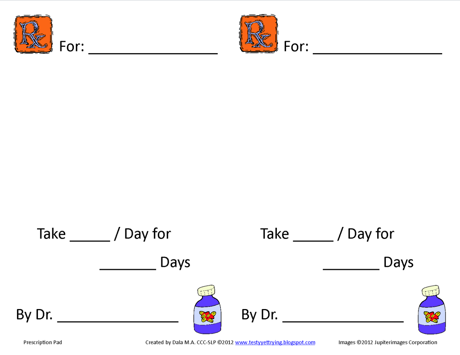 Testy Yet Trying: Homemade Doctor Kit Accessories - Play - Free Printable Prescription Pad