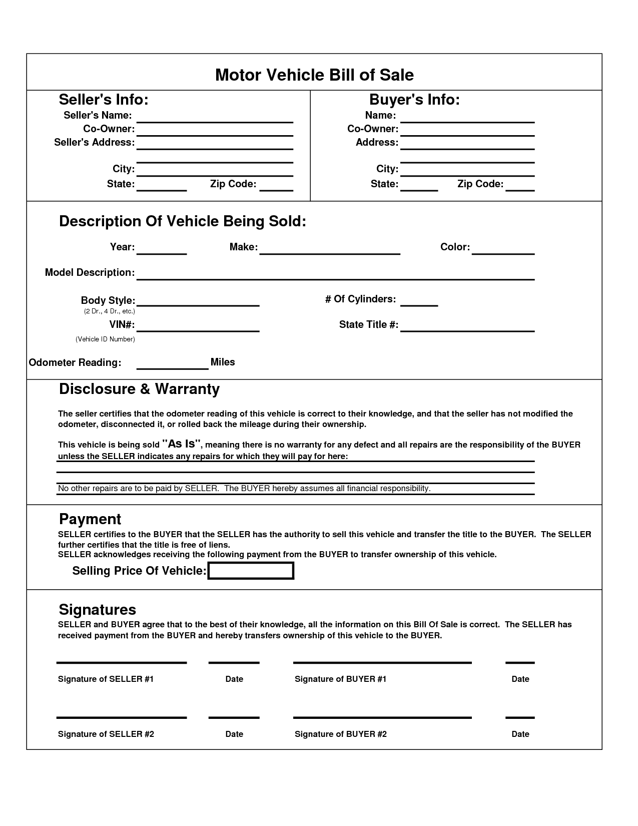 Texas Motor Vehicle Bill Sale Form | Books Worth Reading - Free Printable Vehicle Bill Of Sale