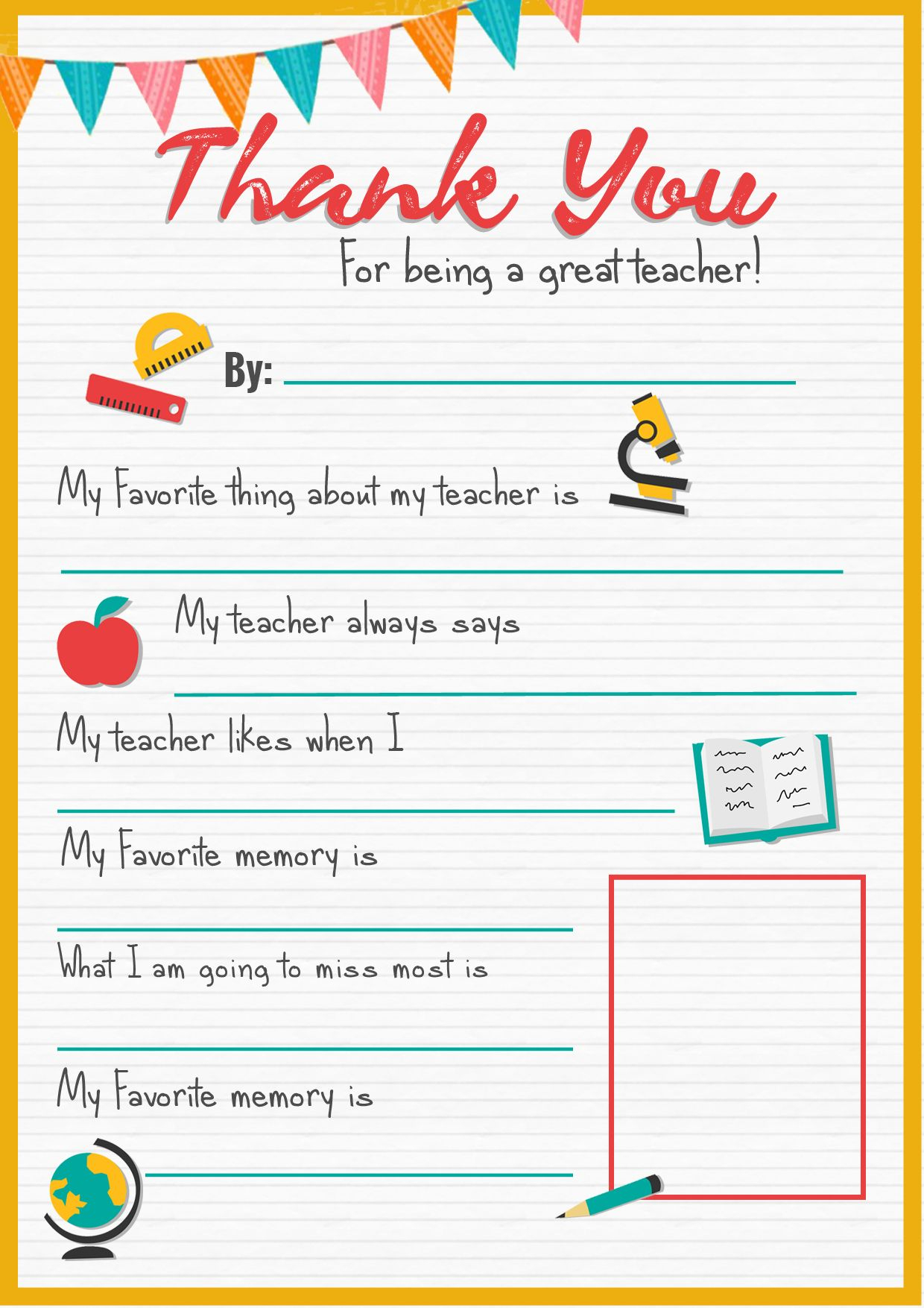 Thank You Teacher - A Free Printable   Stay At Home Mum   Teacher - All About My Teacher Free Printable