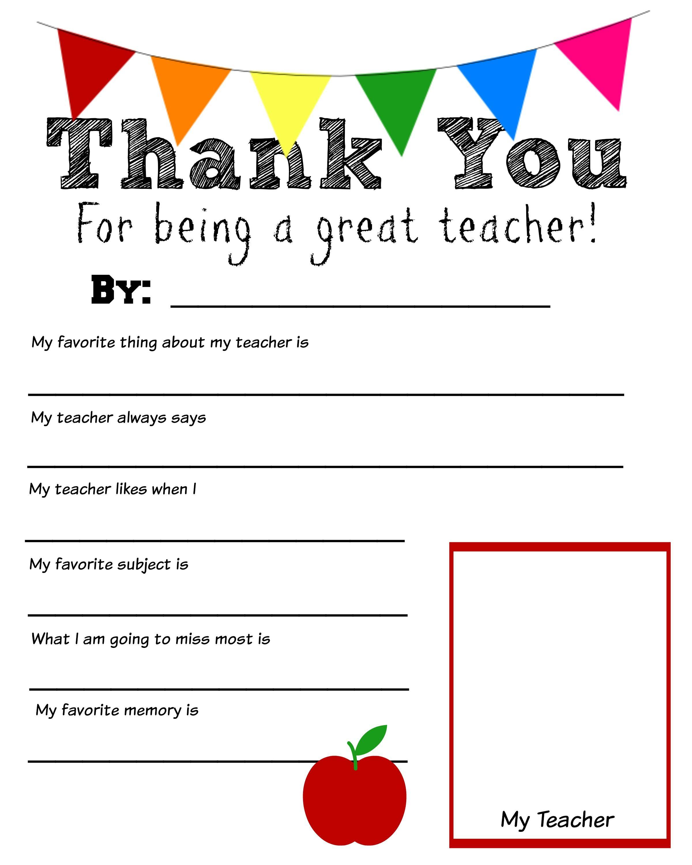 Thank You Teacher Free Printable   School Days   Pinterest   Teacher - All About My Teacher Free Printable