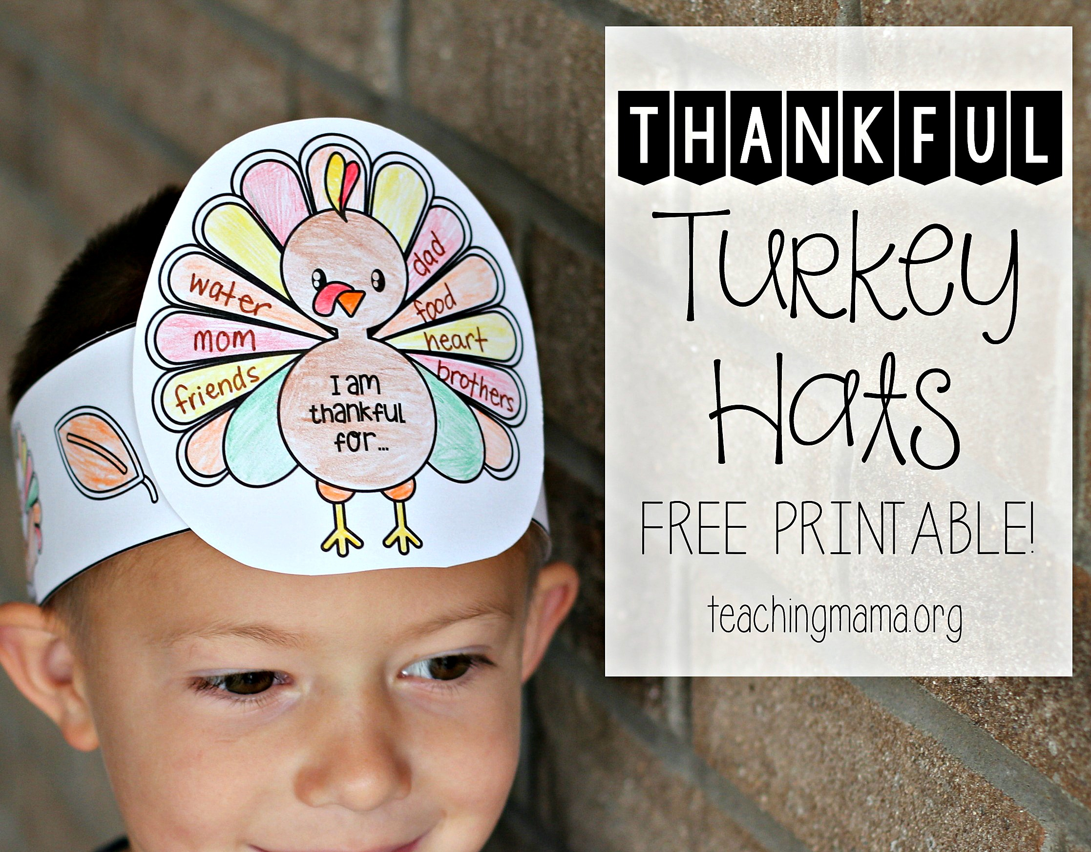 Thankful Turkey Hats - Free Printable Thanksgiving Hats