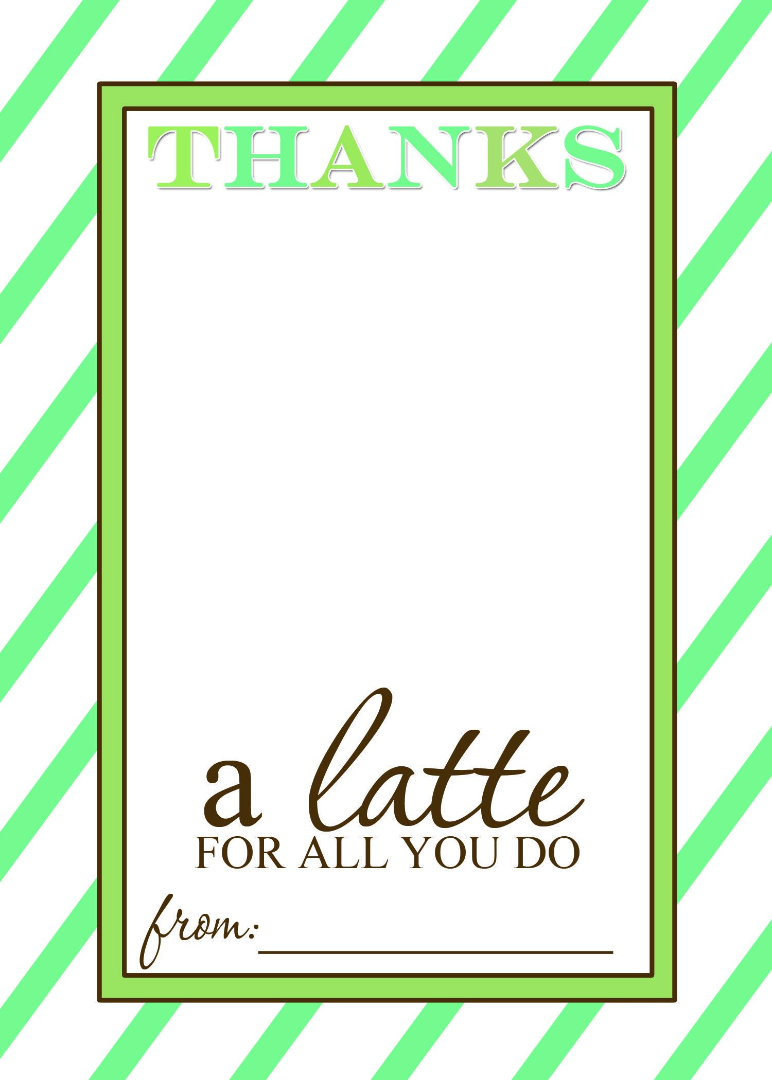 Thanks A Latte Free Printable Gift Card Holder Teacher Gift | Craft - Thanks A Latte Free Printable