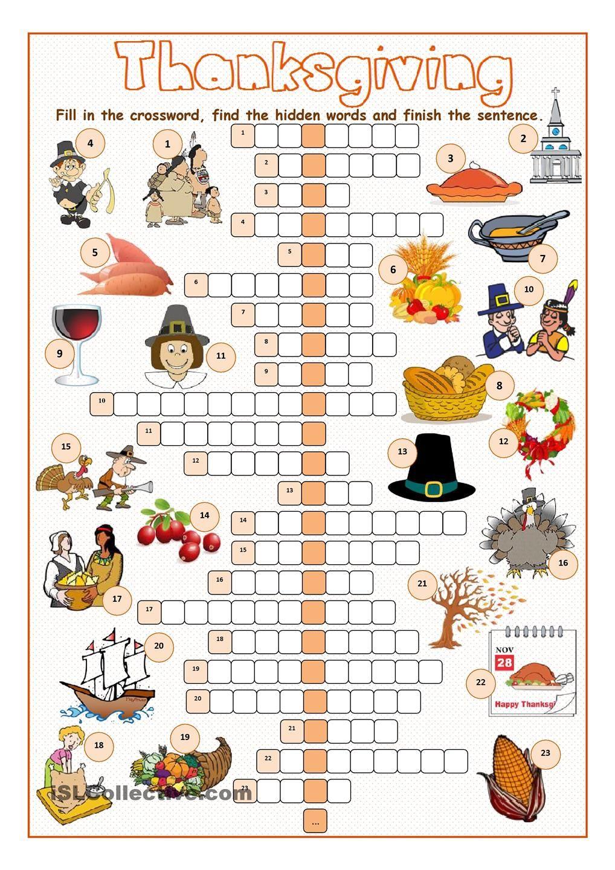 Thanksgiving Crossword Puzzle …   Salle De Classe   Pinte… - Thanksgiving Crossword Puzzles Printable Free