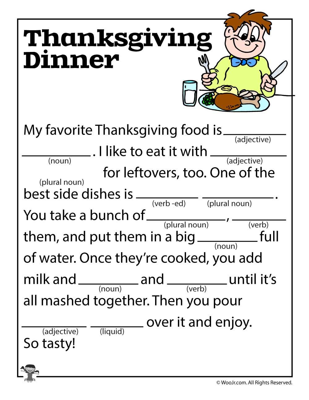 Thanksgiving Mad Libs | Woo! Jr. Kids Activities - Free Printable Thanksgiving Mad Libs