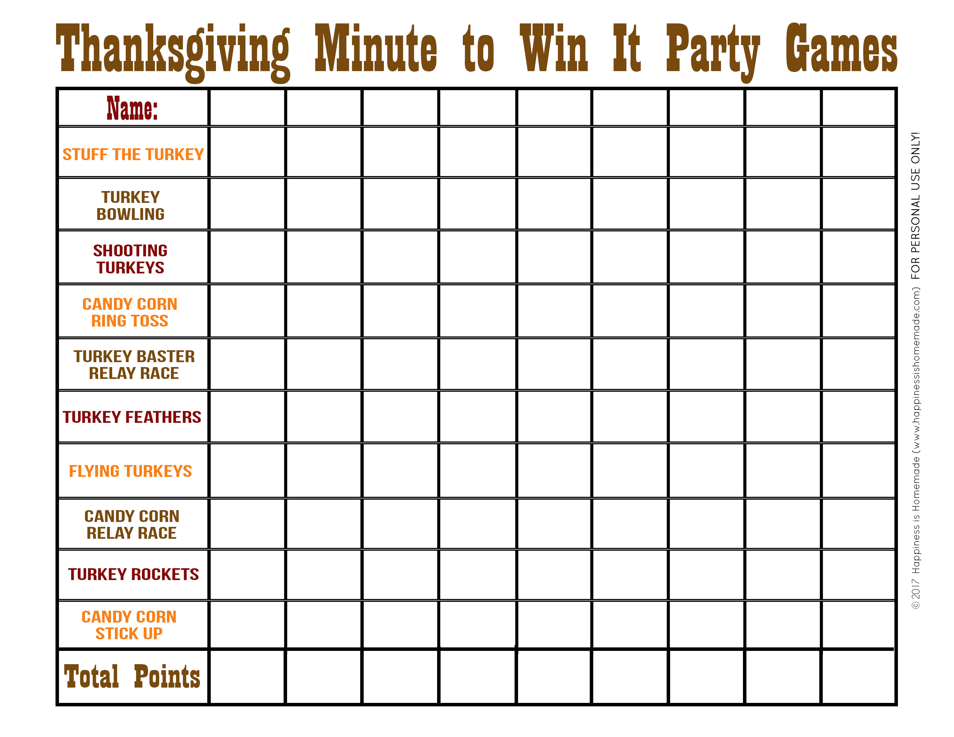Thanksgiving Minute To Win It Games - Happiness Is Homemade - Thanksgiving Games Printable Free