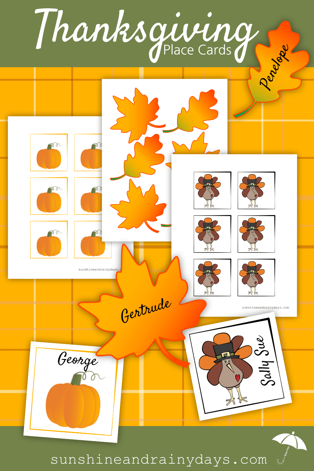 Thanksgiving Place Card Printable | Thanksgiving Printables - Free Printable Thanksgiving Place Cards To Color