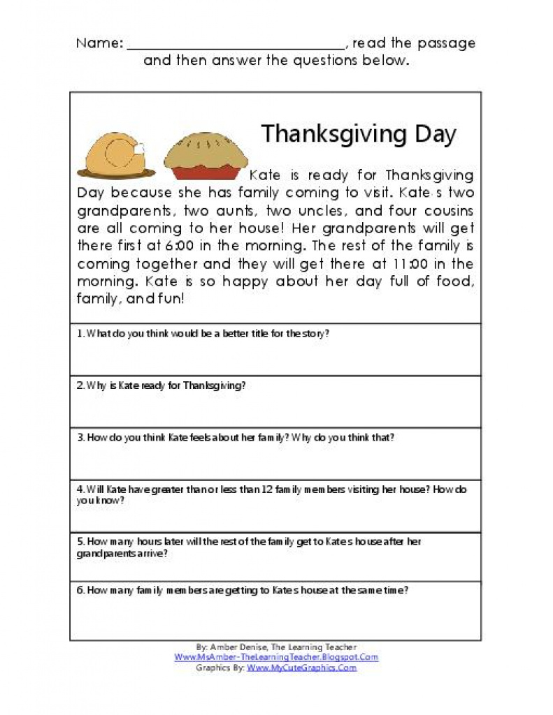 Thanksgiving Reading & Math Comprehension Passage | Teacherlingo - Free Printable Short Stories For Grade 3
