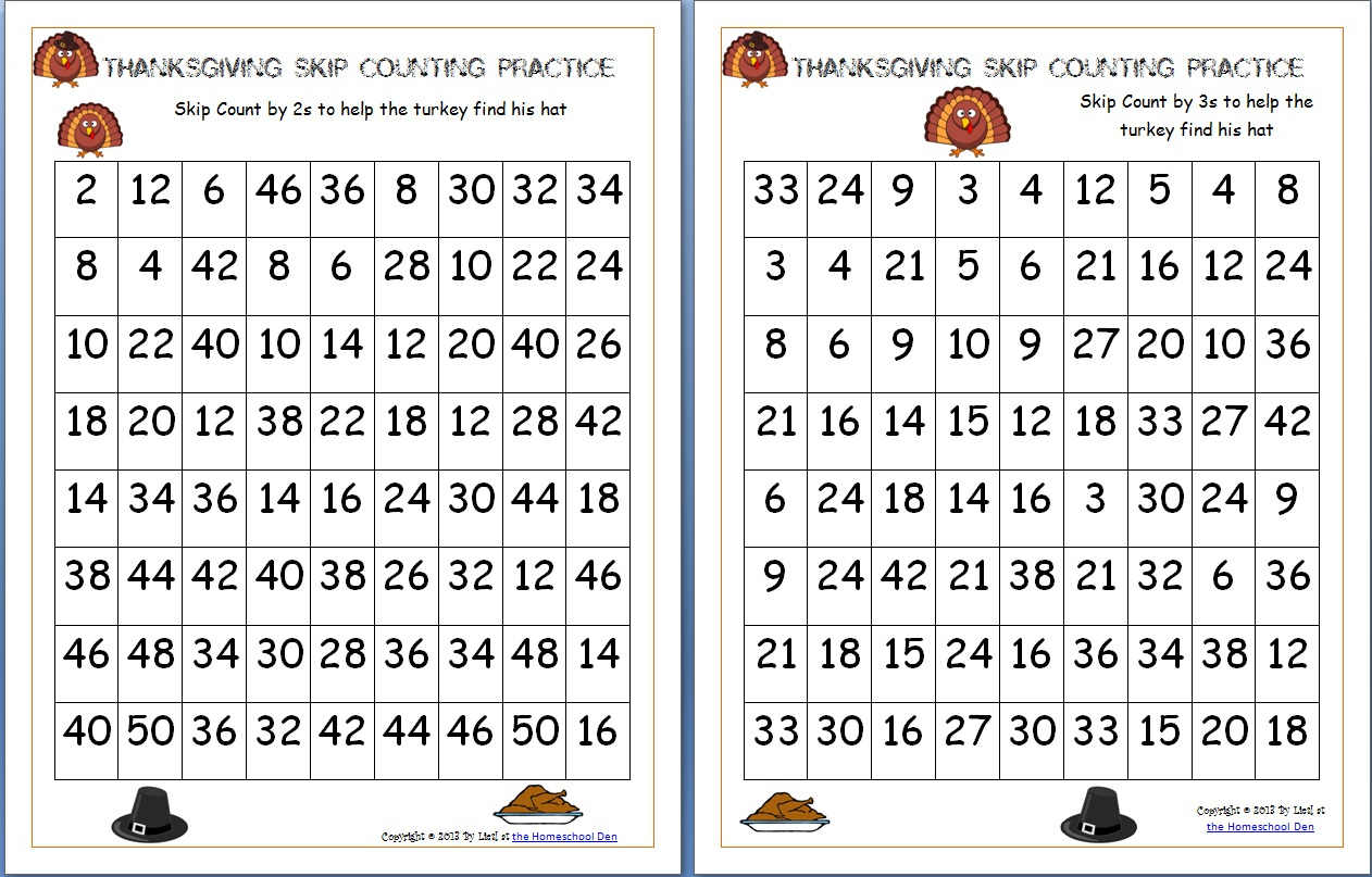 Thanksgiving Skip Counting Mazes 2S, 3S, 5S (Free) - Homeschool Den - Math Worksheets Thanksgiving Free Printable
