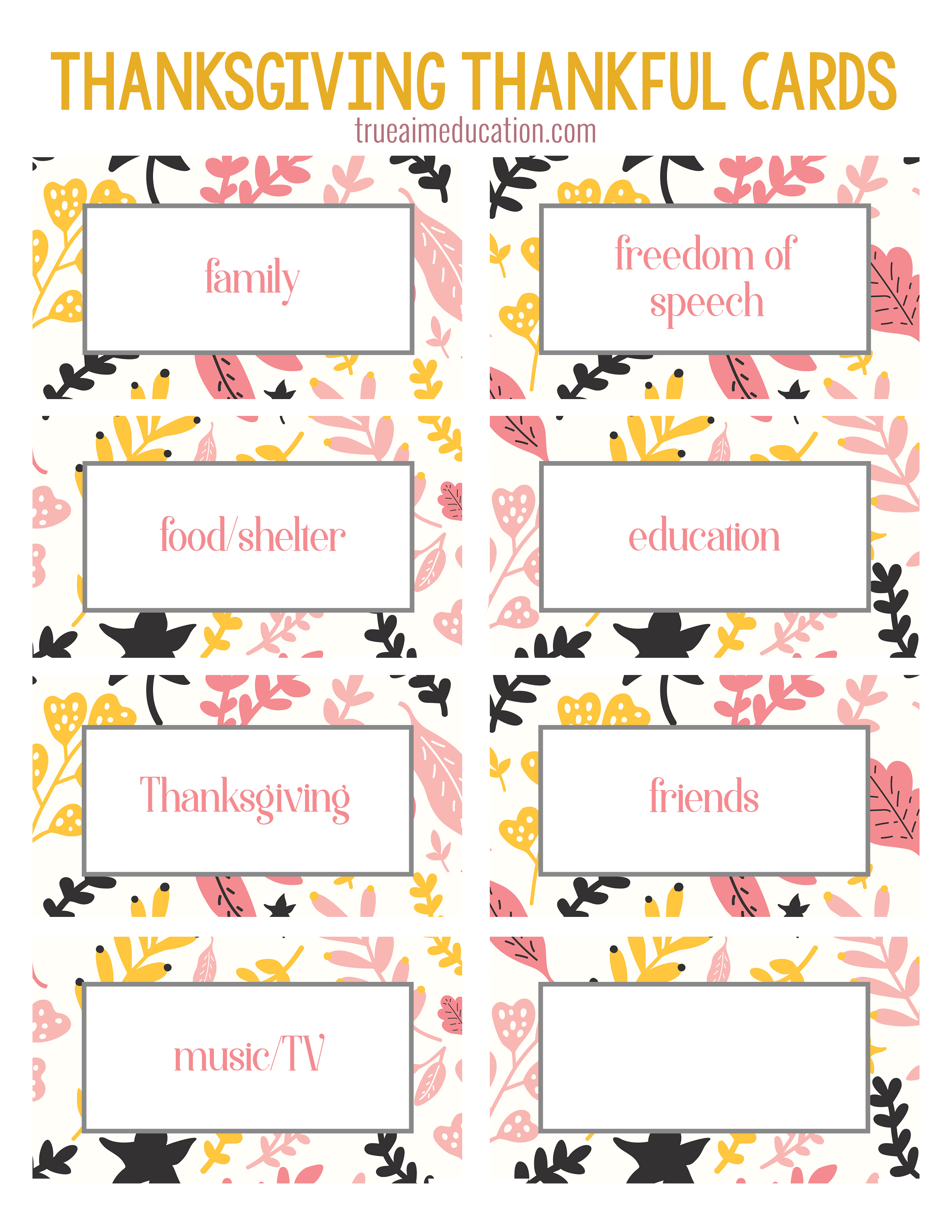 Thanksgiving Thankfulness With Free Printable Cards - Free Printable Picture Cards