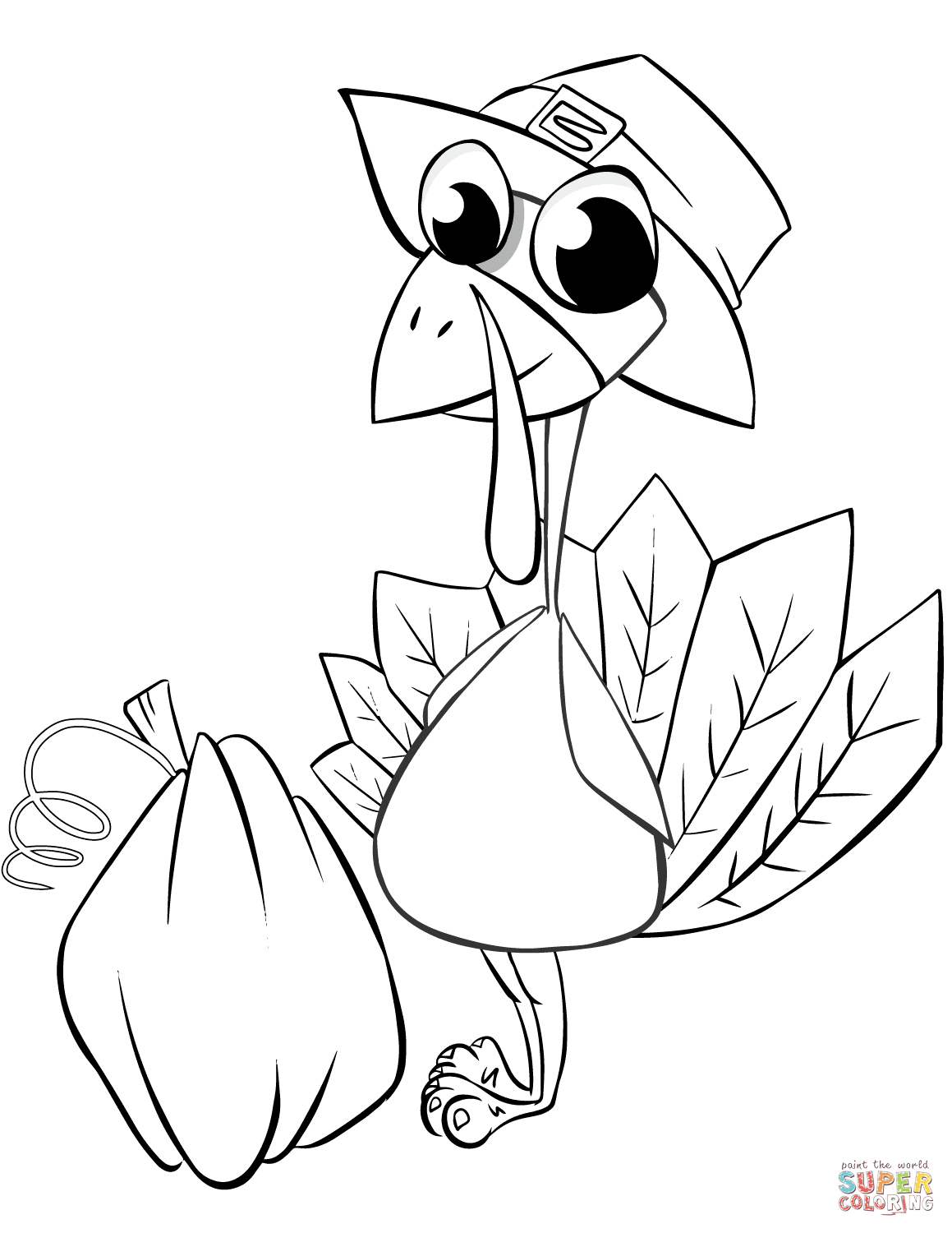 Thanksgiving Turkey With Pumpkin Coloring Page   Free Printable - Free Printable Pictures Of Turkeys To Color