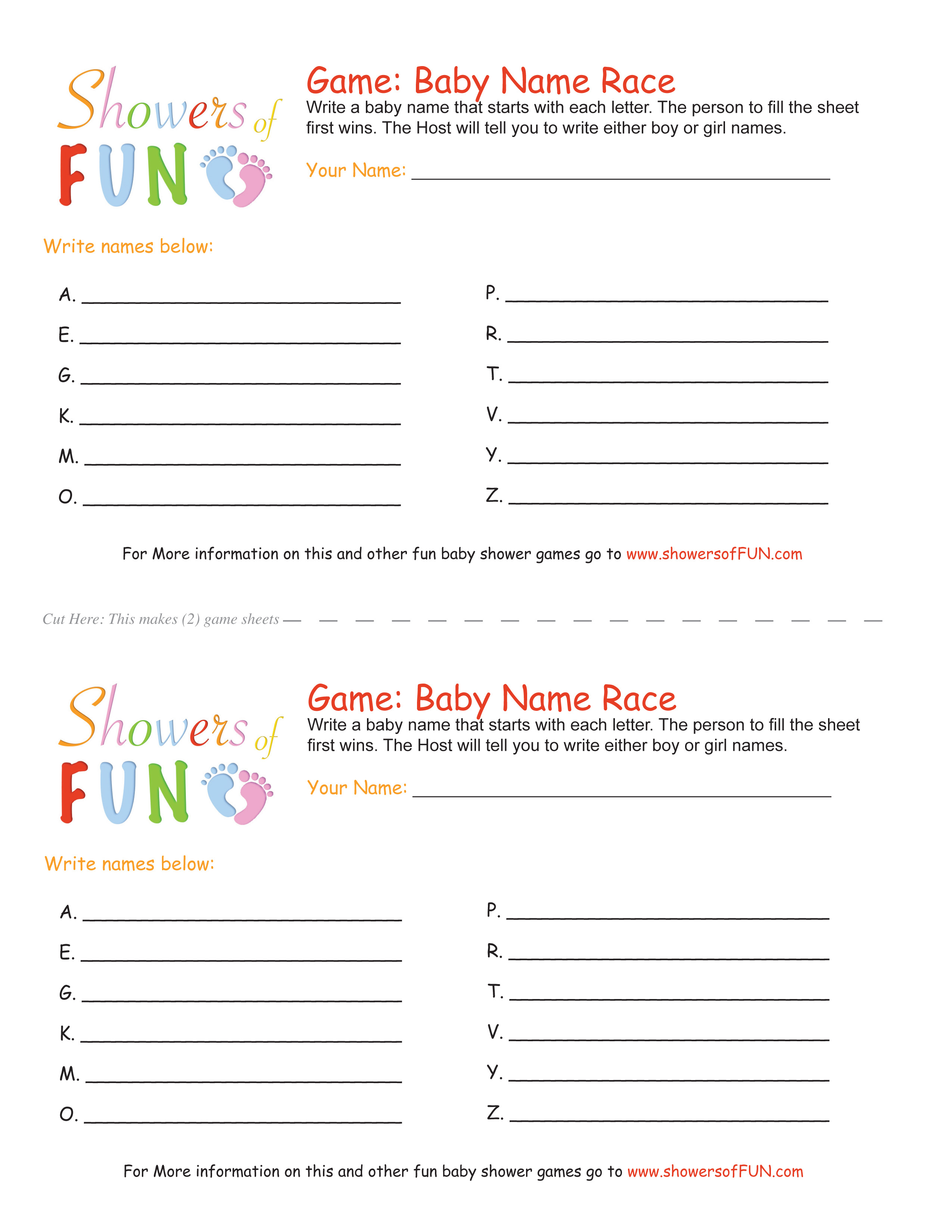 The Baby Name Race Baby Shower Game - Baby Name Race Free Printable