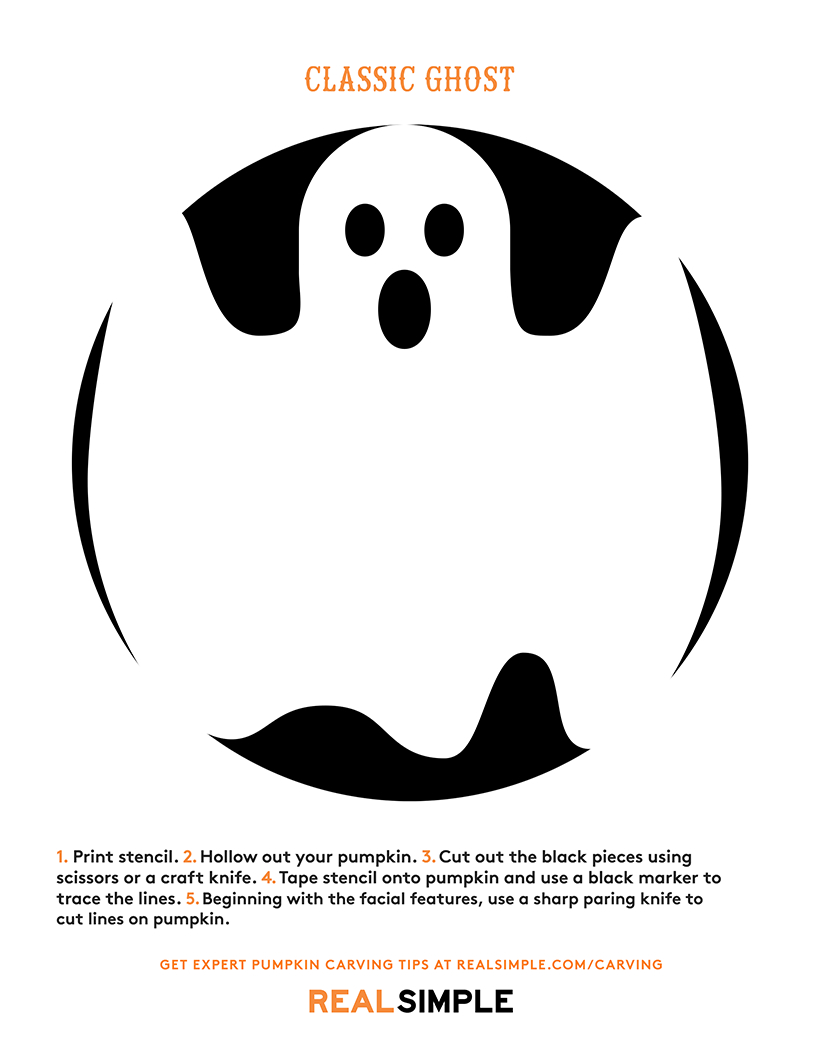 The Best Ghost Pumpkin Designs | Real Simple - Free Printable Pumpkin Carving Templates Dog