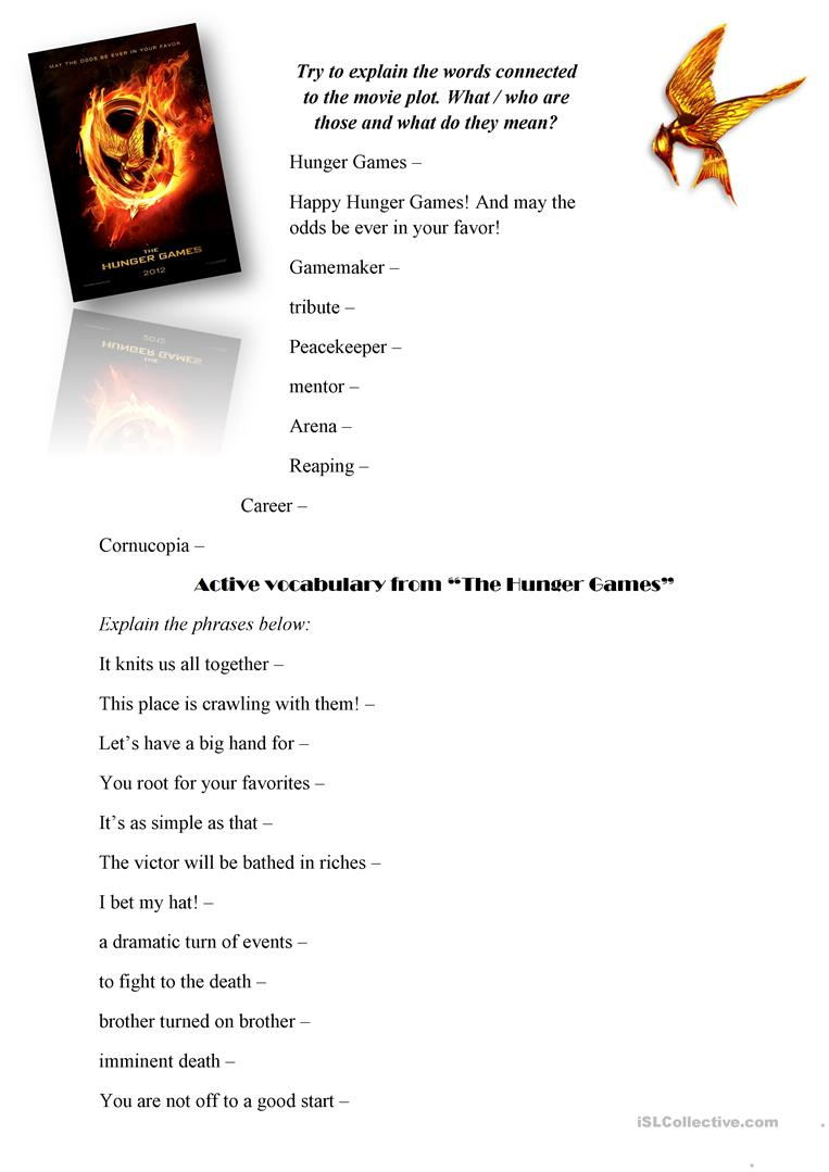 The Hunger Games (Movie Worksheet) Worksheet - Free Esl Printable - Hunger Games Free Printable Worksheets