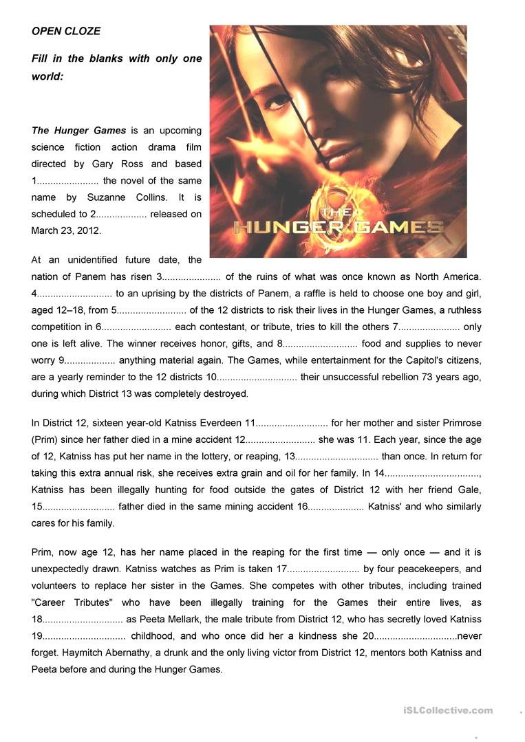"The Hunger Games"" Open Cloze Worksheet - Free Esl Printable - Hunger Games Free Printable Worksheets"
