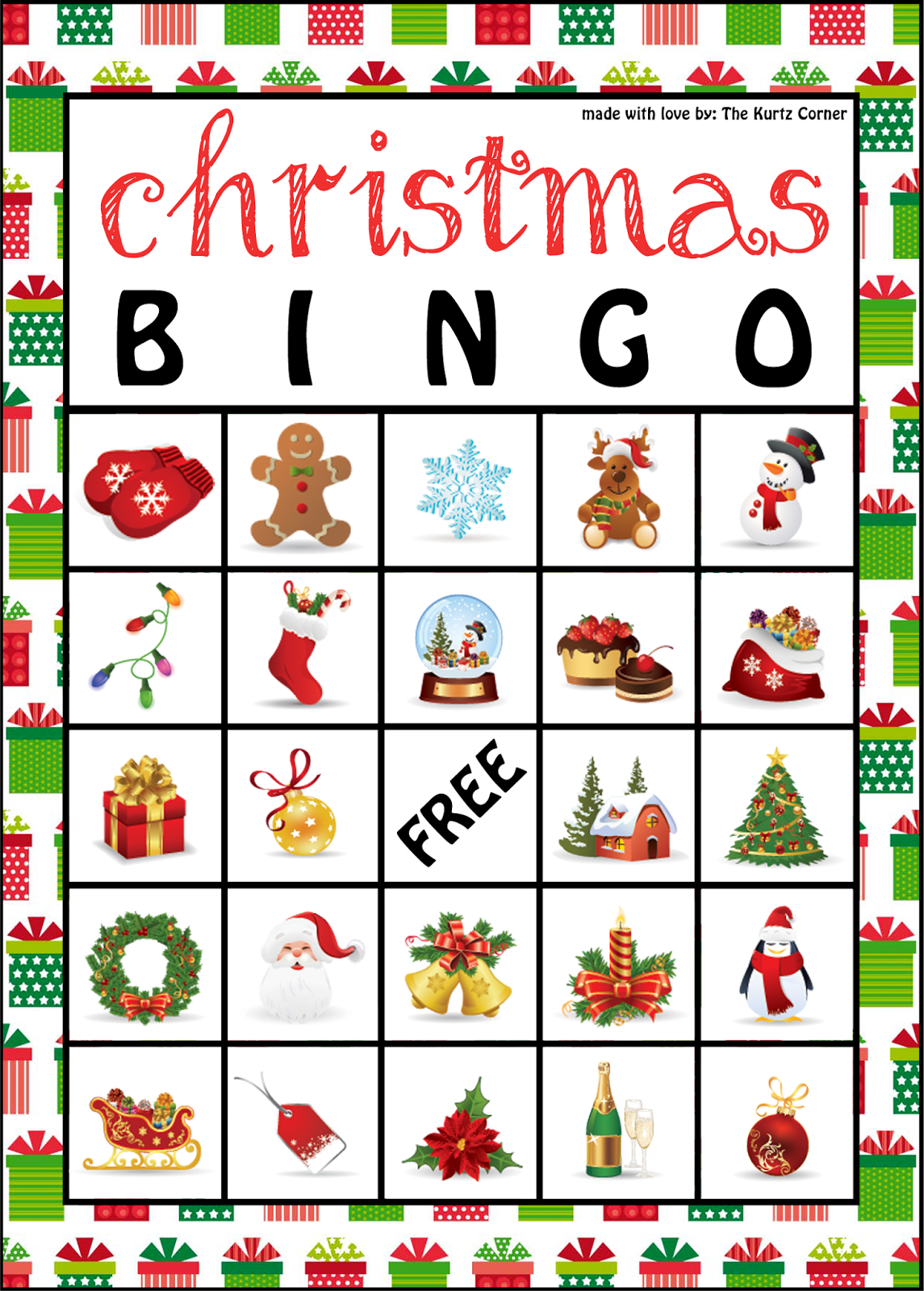 The Kurtz Corner: Free Printable Christmas Bingo Cards | Winter / X - Free Printable Bingo Cards And Call Sheet