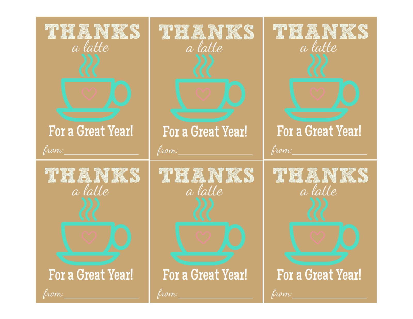 The Larson Lingo: Thanks A Latte {Free Printable} - Thanks A Latte Free Printable Tag