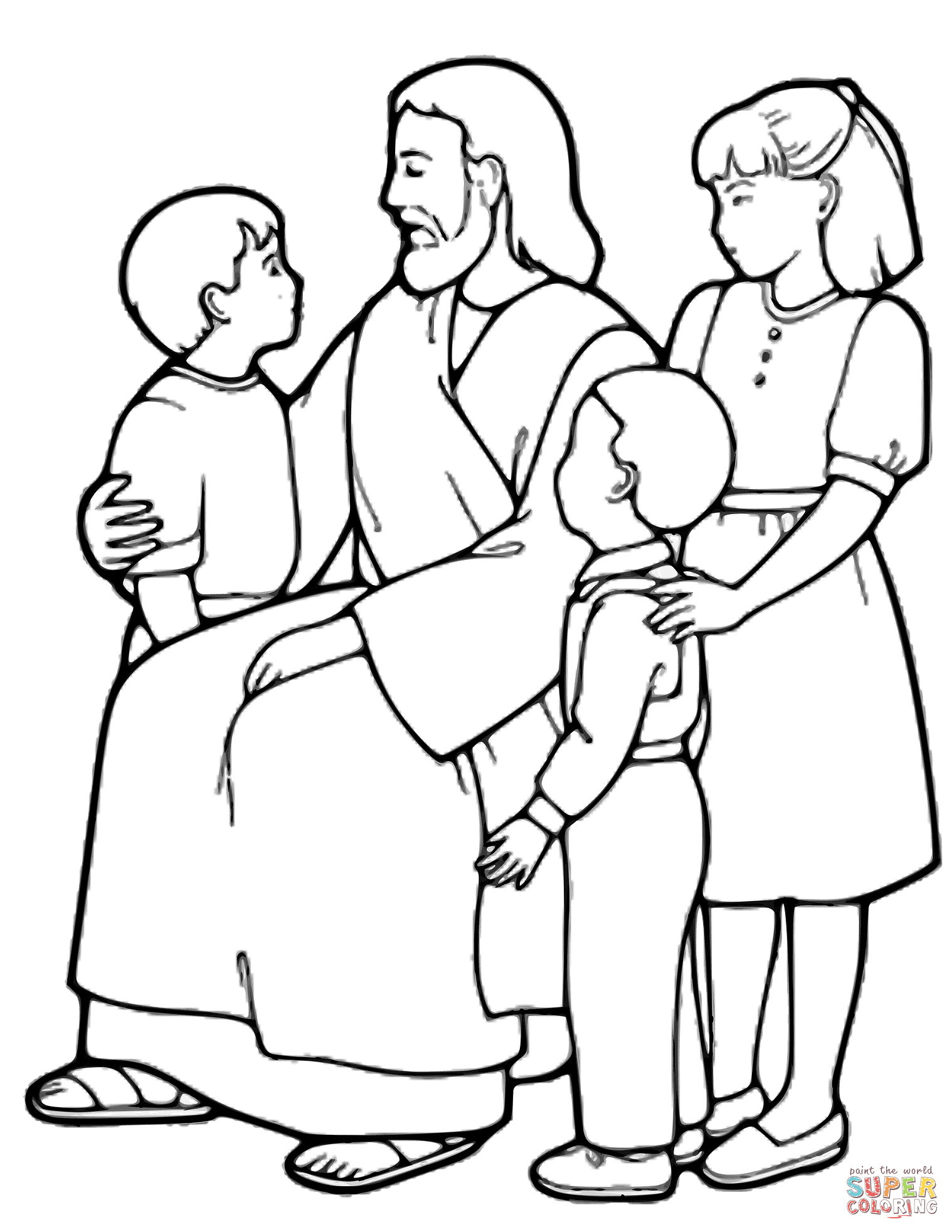 The Little Children And Jesus Coloring Page | Free Printable - Free Printable Jesus Coloring Pages