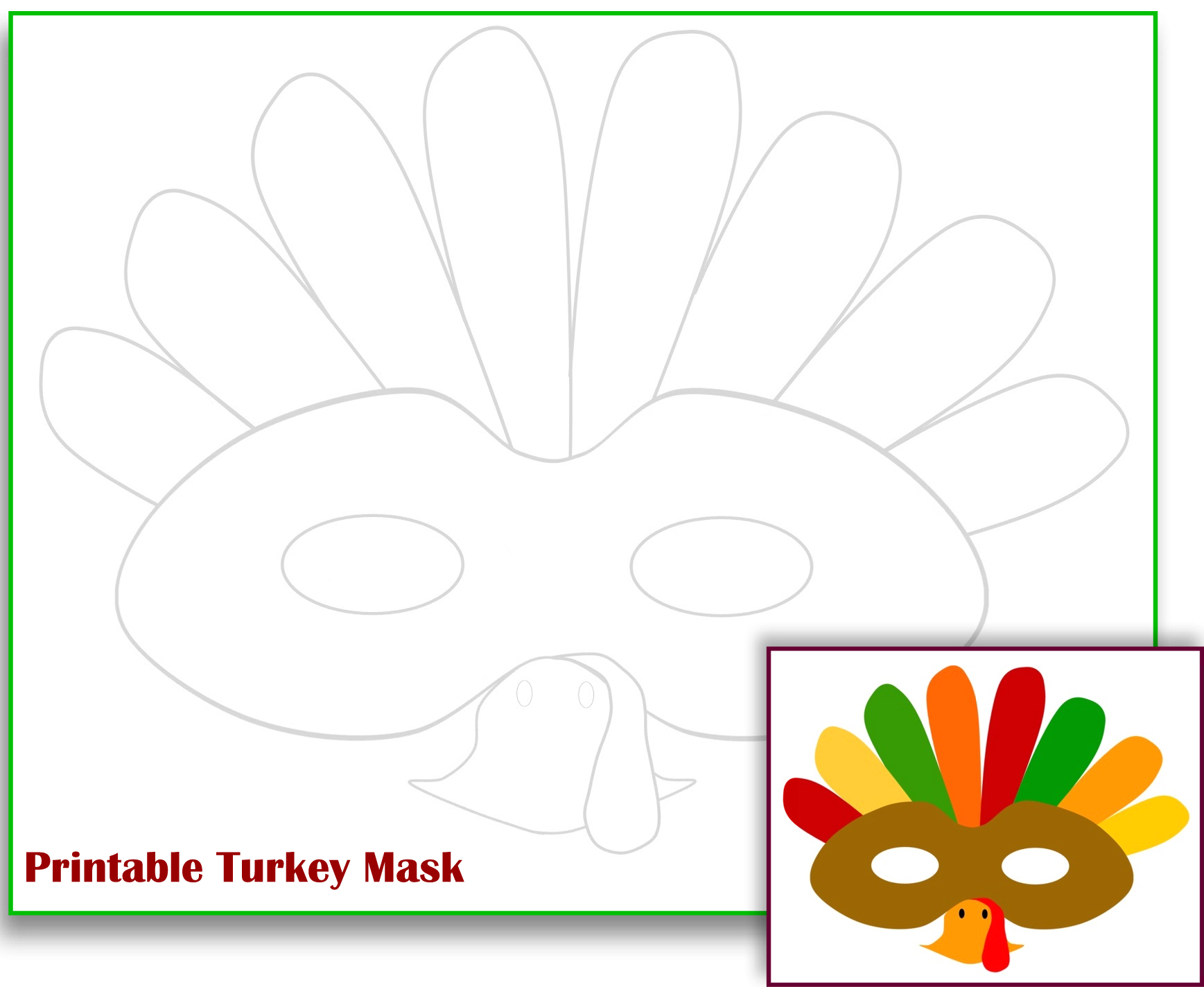 The Mama Zone Free Printable Turkey Mask Free Printable Turkey - Free Printable Turkey Template
