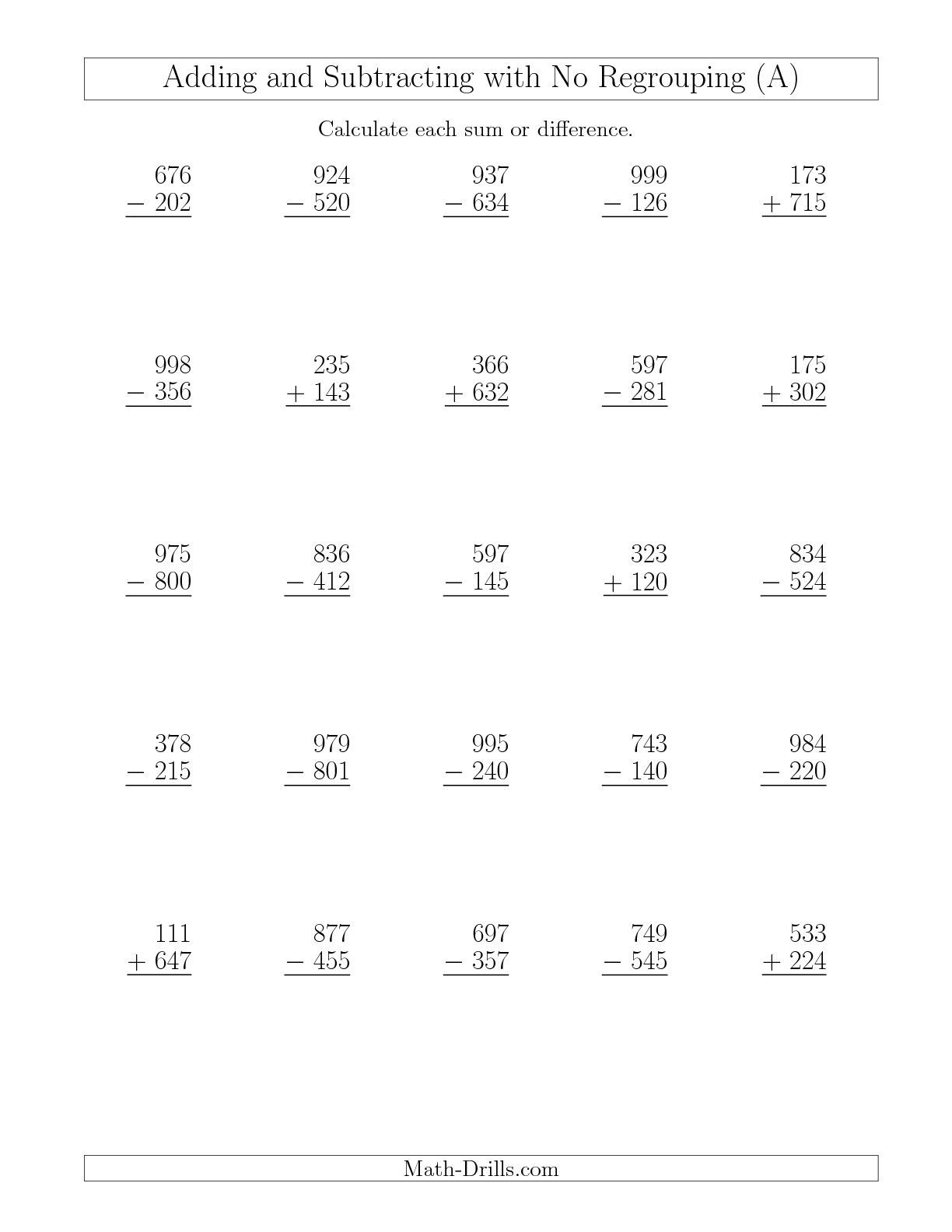 The Mixed Addition And Subtraction Of Three Digit Numbers With No - Free Printable Mixed Addition And Subtraction Worksheets