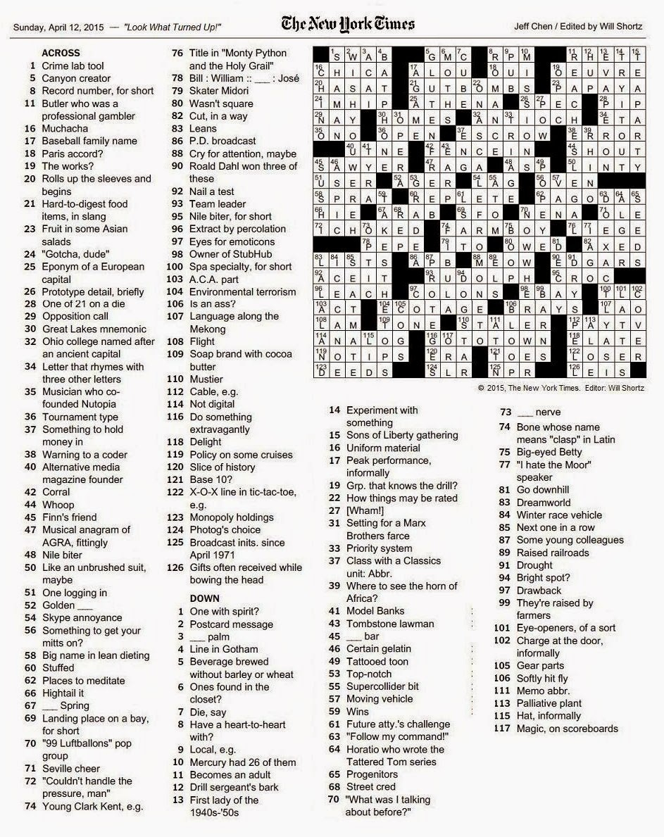 The New York Times Crossword In Gothic: 04.12.15 — Look What Turned Up - New York Times Crossword Printable Free
