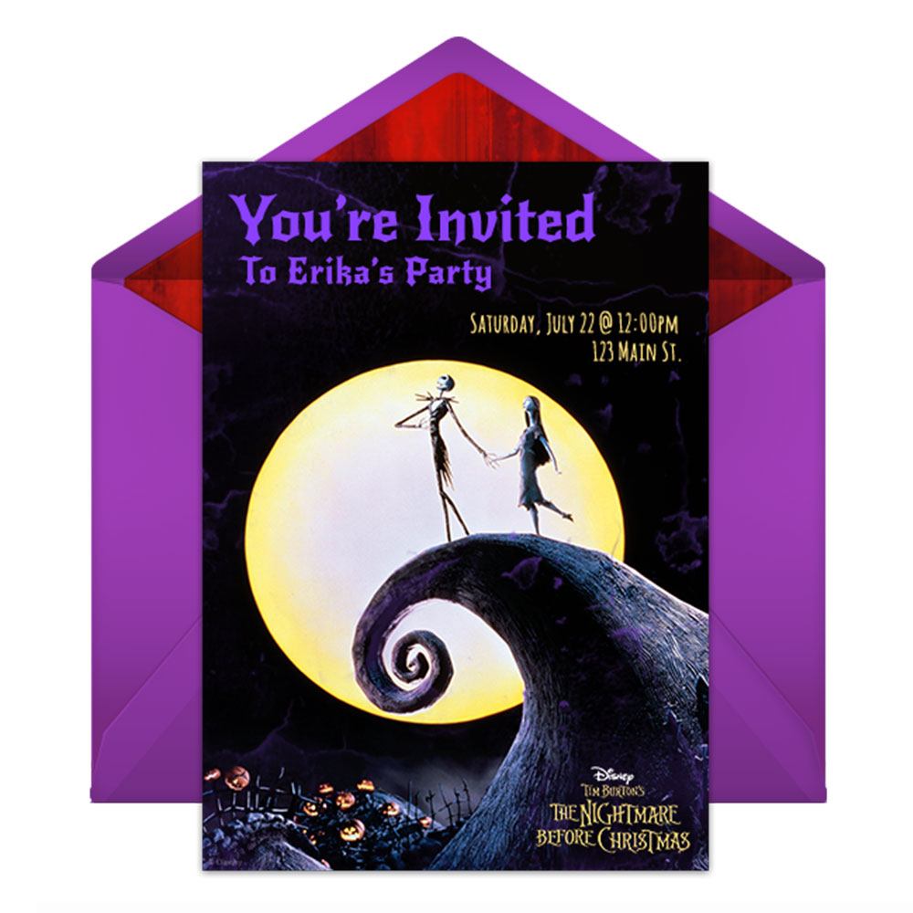 The Nightmare Before Christmas Party Online Invitations | Disney Family - Free Printable Nightmare Before Christmas Birthday Invitations