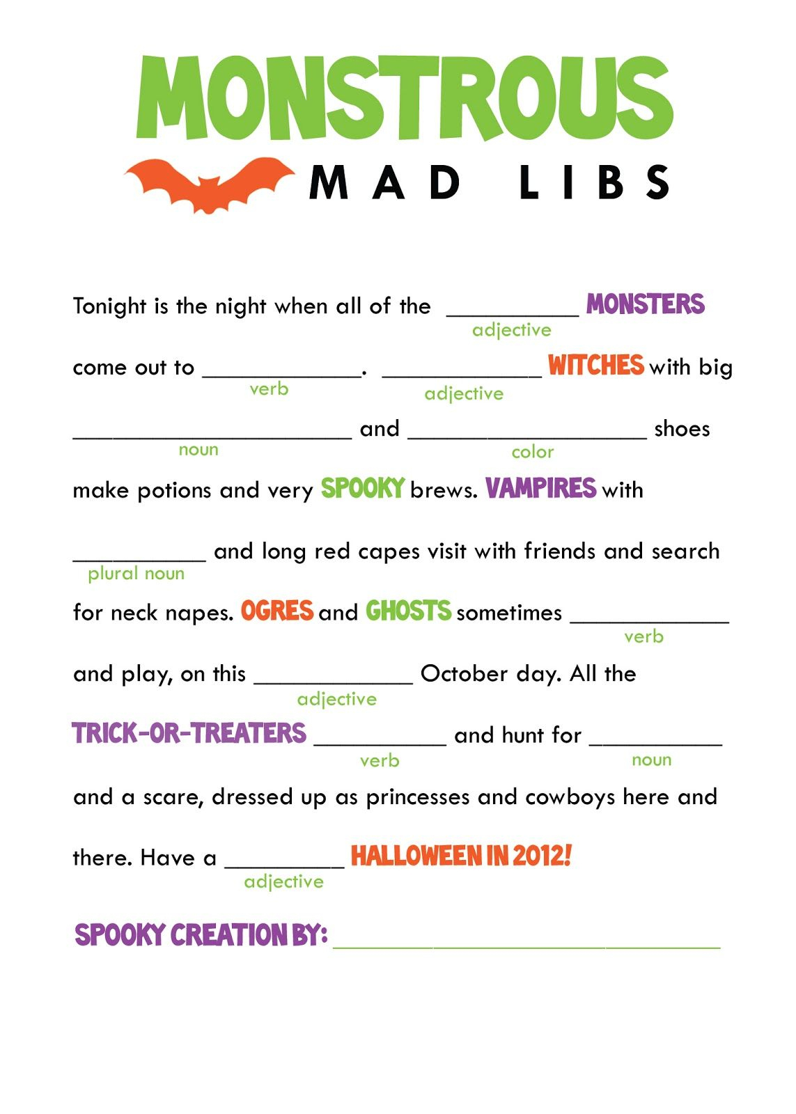 The Smartest And His Artist: Halloween Freebie! Printable Mad Libs - Free Printable Mad Libs For Tweens