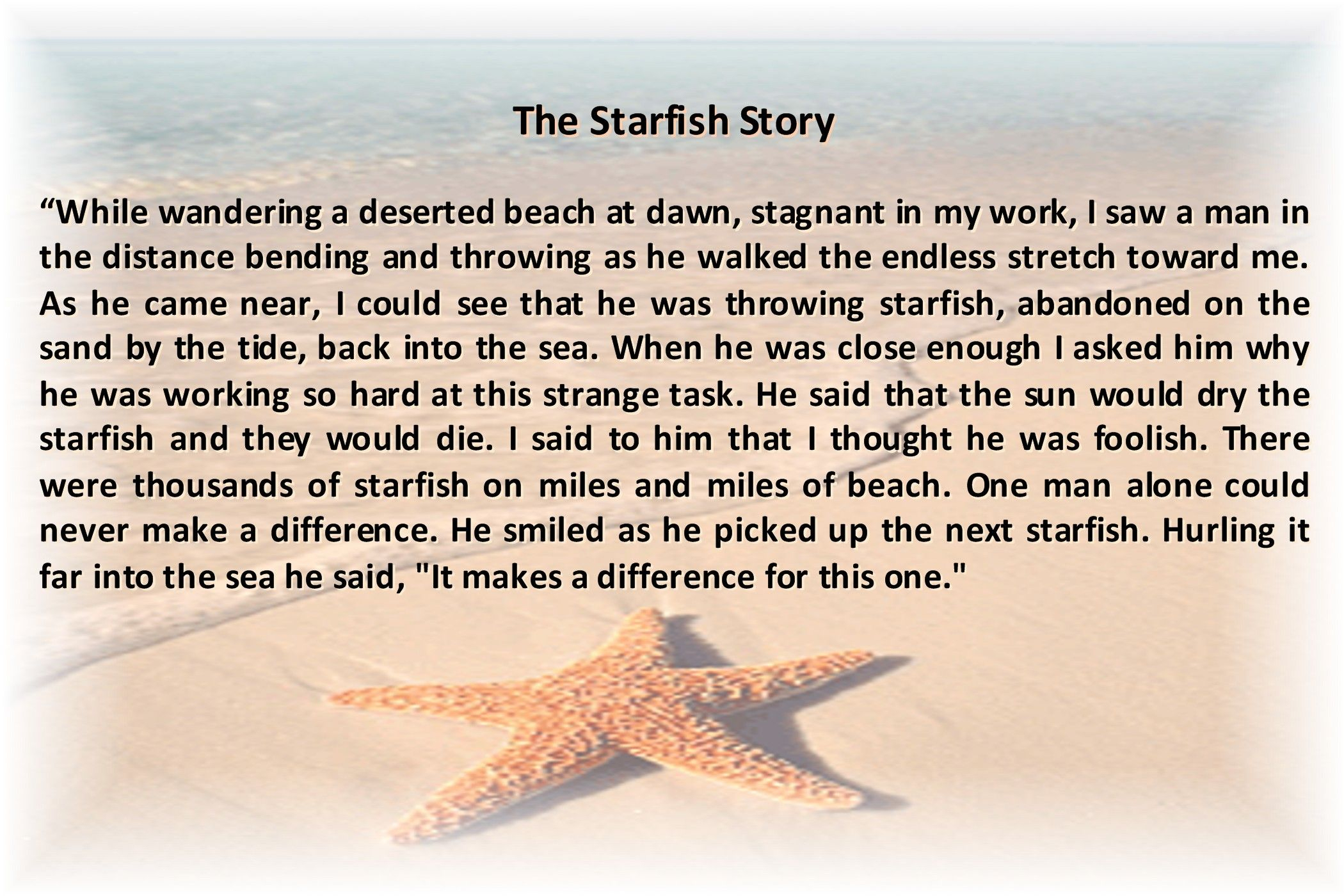 The Starfish Story | Loren Eiseley | Nebraska Author | Travel - Starfish Story Printable Free