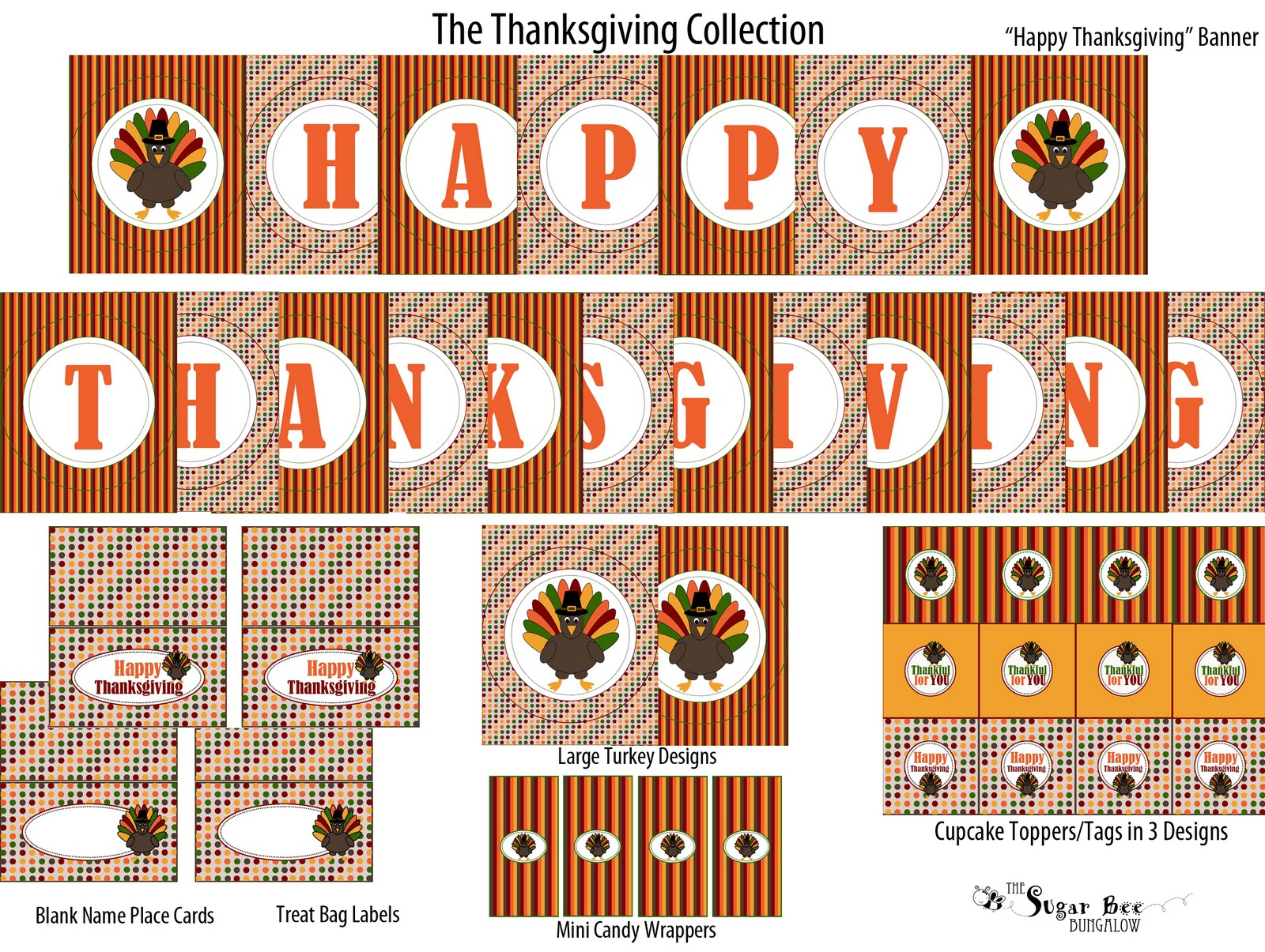 The Sugar Bee Bungalow: {Party Bee} Free Thanksgiving Collection - Free Printable Happy Thanksgiving Banner